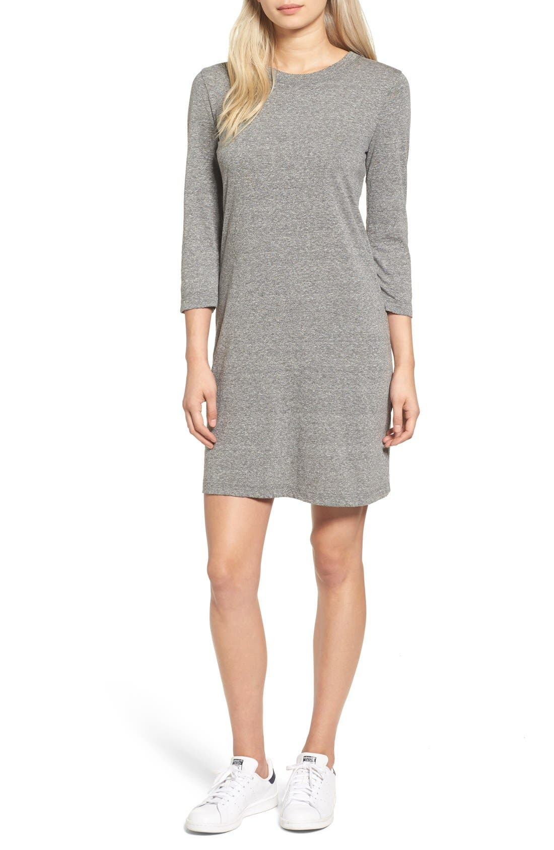 T-Shirt Dress,                             Main thumbnail 1, color,                             Heather Grey