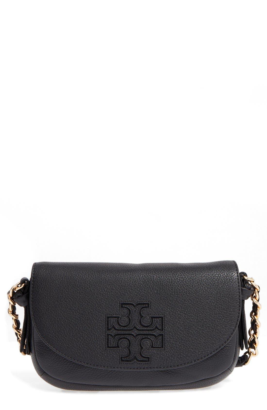 Mini Harper Leather Crossbody Bag,                             Main thumbnail 1, color,                             Black