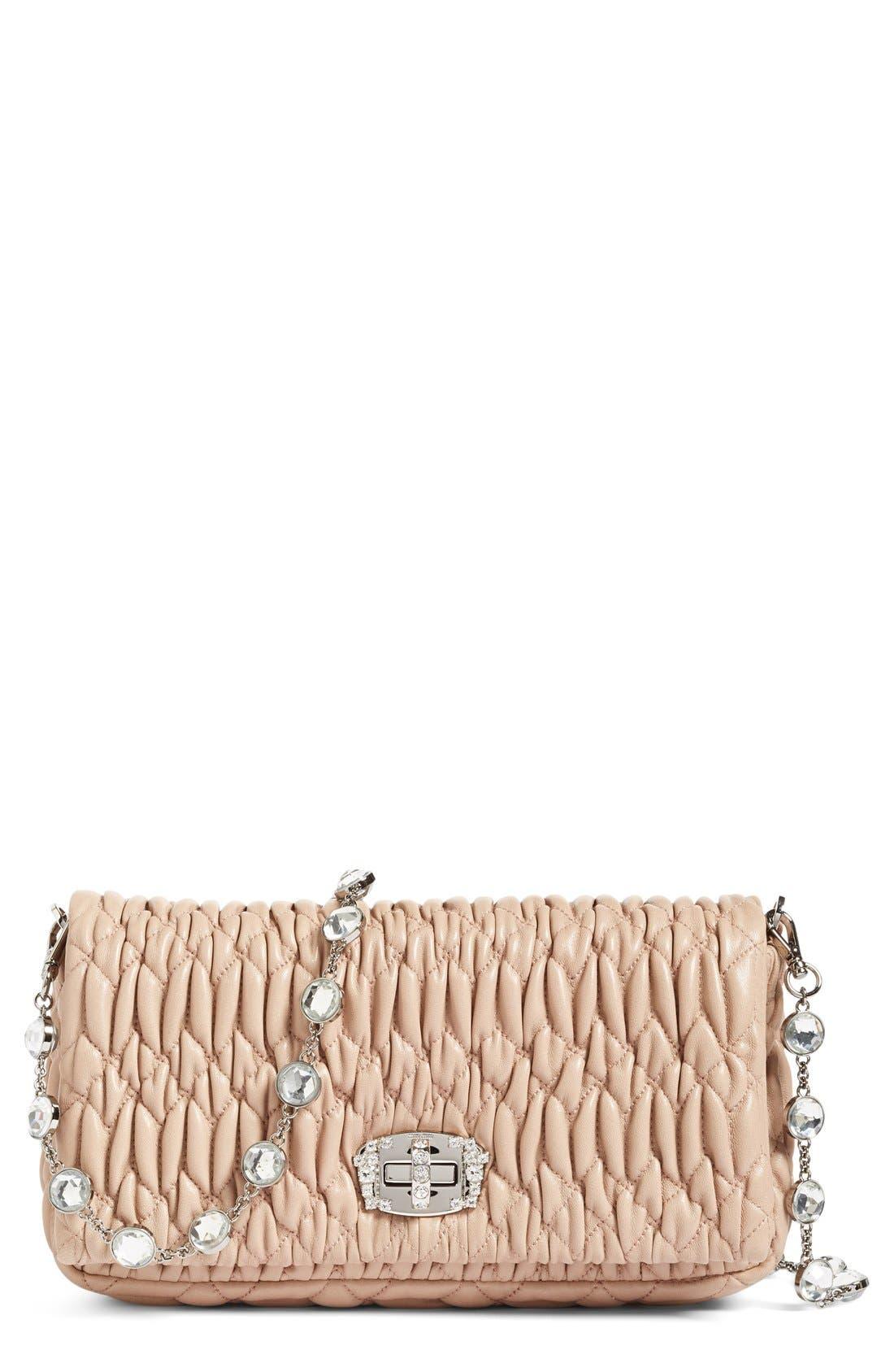 Small Crystal Embellished Nappa Shoulder Bag,                             Main thumbnail 1, color,                             Cammeo