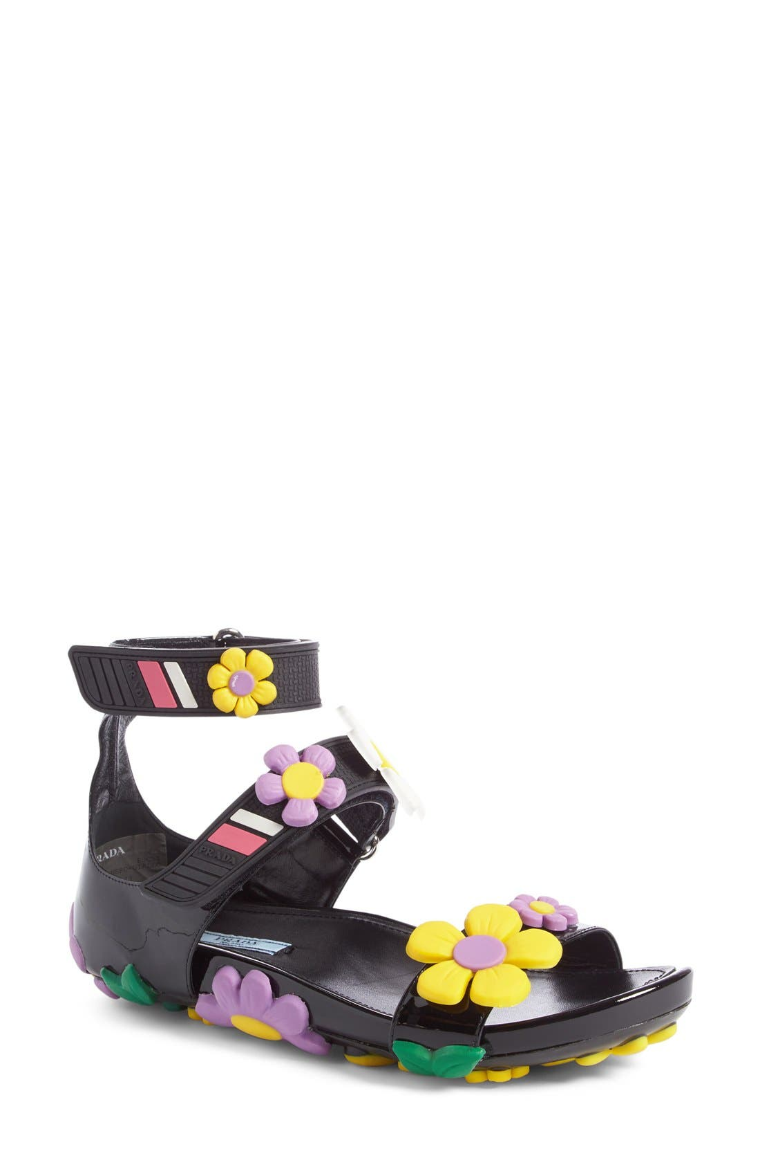 Main Image - Prada Floral Triple Band Sandal (Women)
