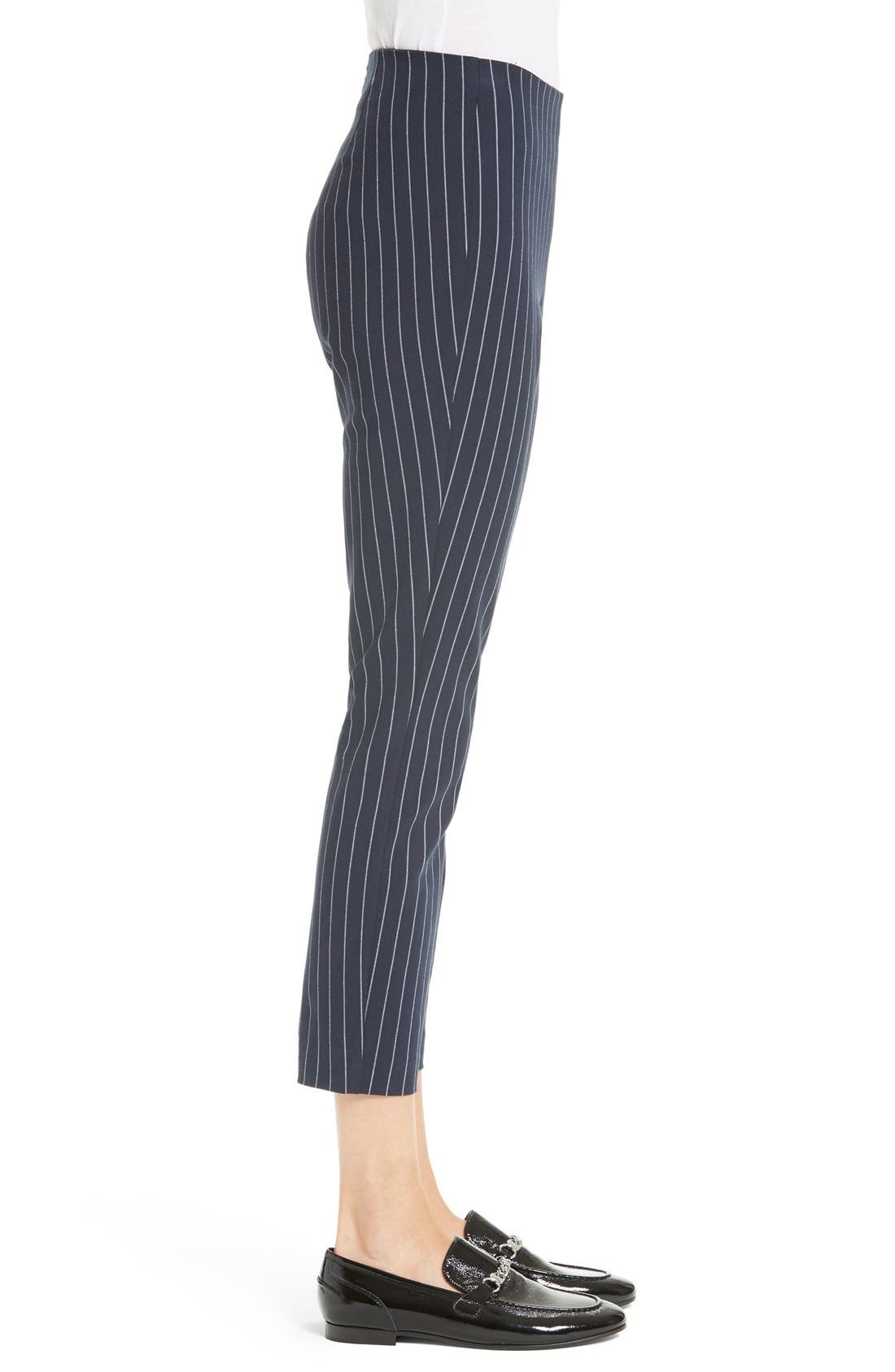 Simone Pinstripe Pants,                             Alternate thumbnail 4, color,                             Salute/ White