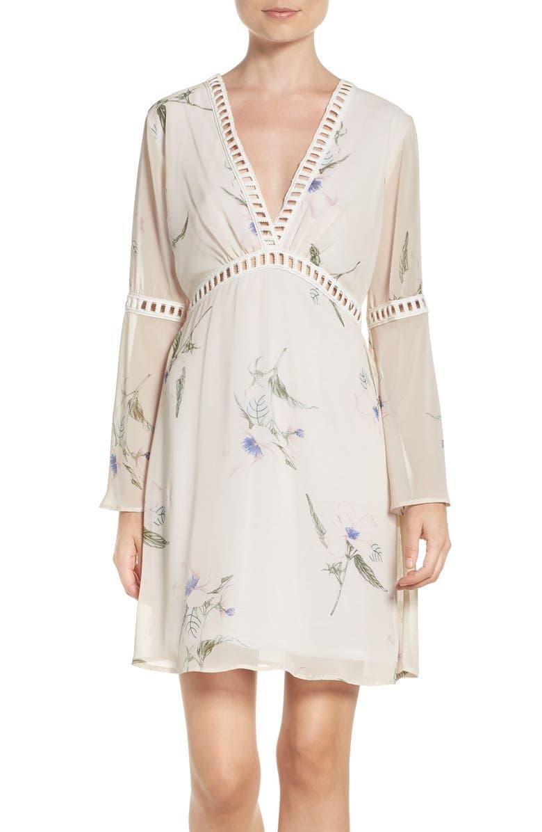 Floral Print Chiffon Blouson Dress