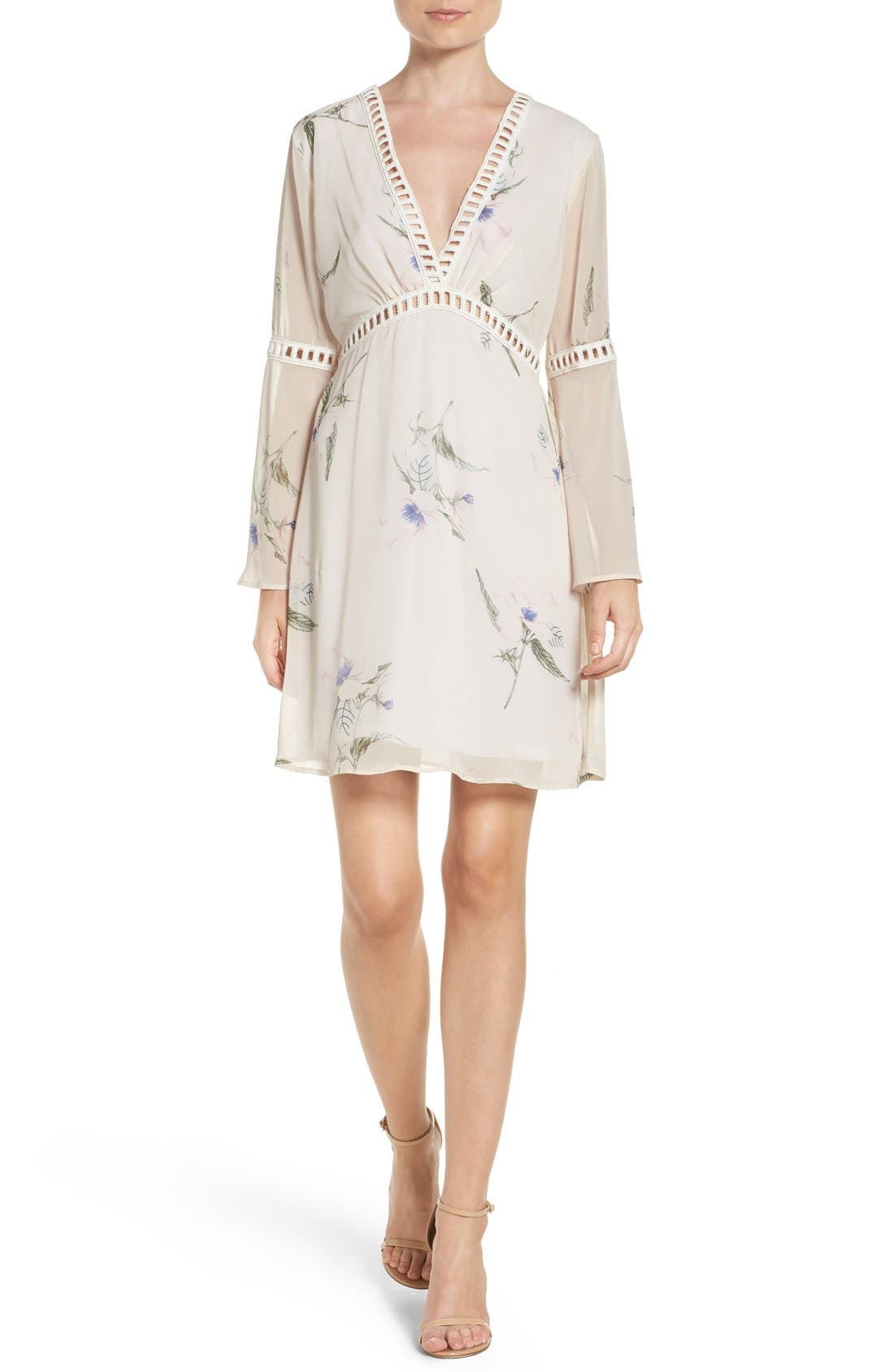 Alternate Image 4  - Fraiche by J Floral Print Chiffon Blouson Dress