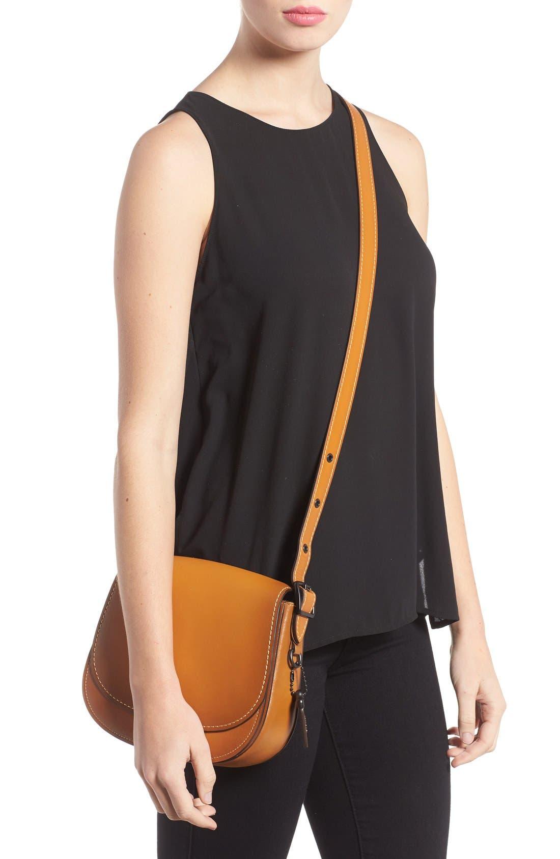 '23' Leather Saddle Bag,                             Alternate thumbnail 2, color,                             Butterscotch