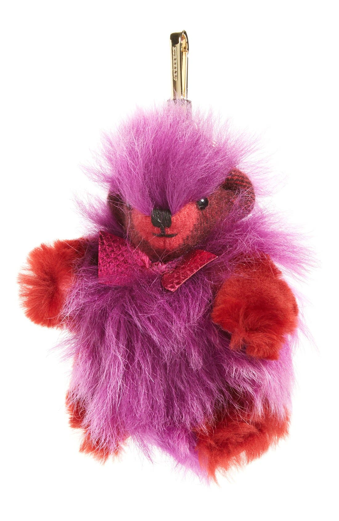 Thomas Bear Genuine Shearling & Cashmere Bag Charm,                             Main thumbnail 1, color,                             Fuchsia Pink