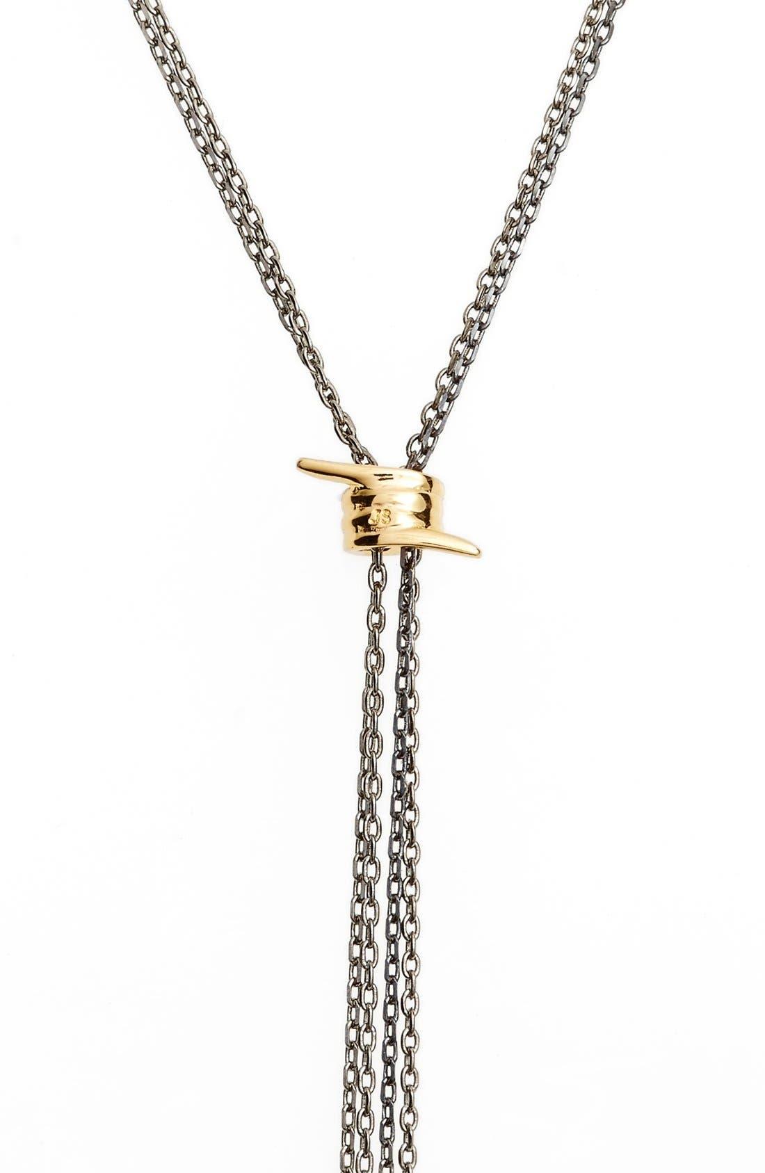 Topanga Lariat Necklace,                             Alternate thumbnail 2, color,                             Gunmetal/ Gold