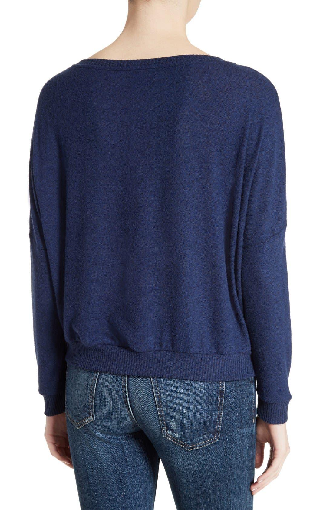 Soft Joie Giardia Drop Shoulder Sweater,                             Alternate thumbnail 2, color,                             Peacoat