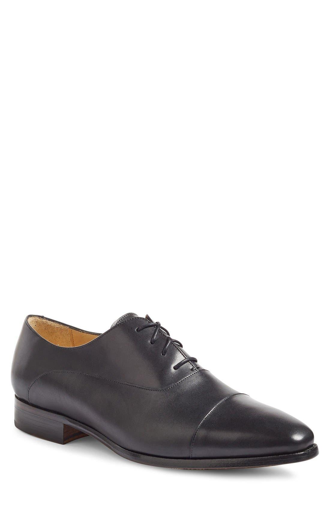 Joe Cap Toe Oxford,                         Main,                         color, Black Leather