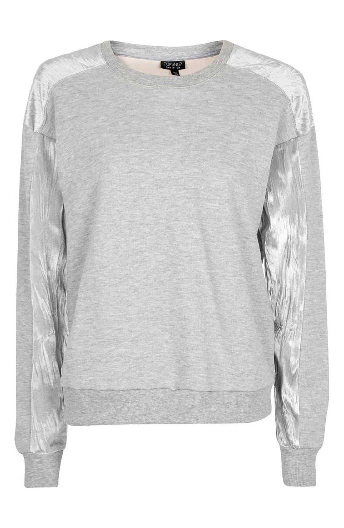 Alternate Image 5  - Topshop Crinkle Velvet Back Pullover