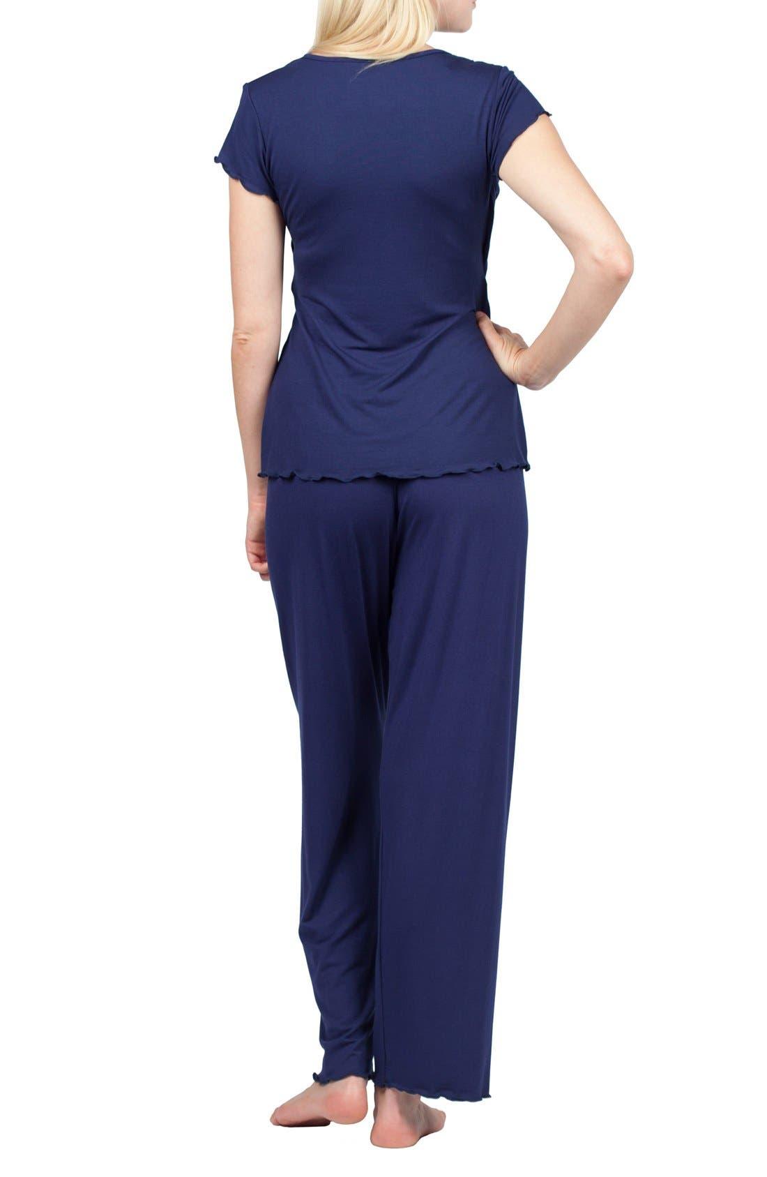 Sophia Maternity/Nursing Pajamas,                             Alternate thumbnail 2, color,                             Estate Blue