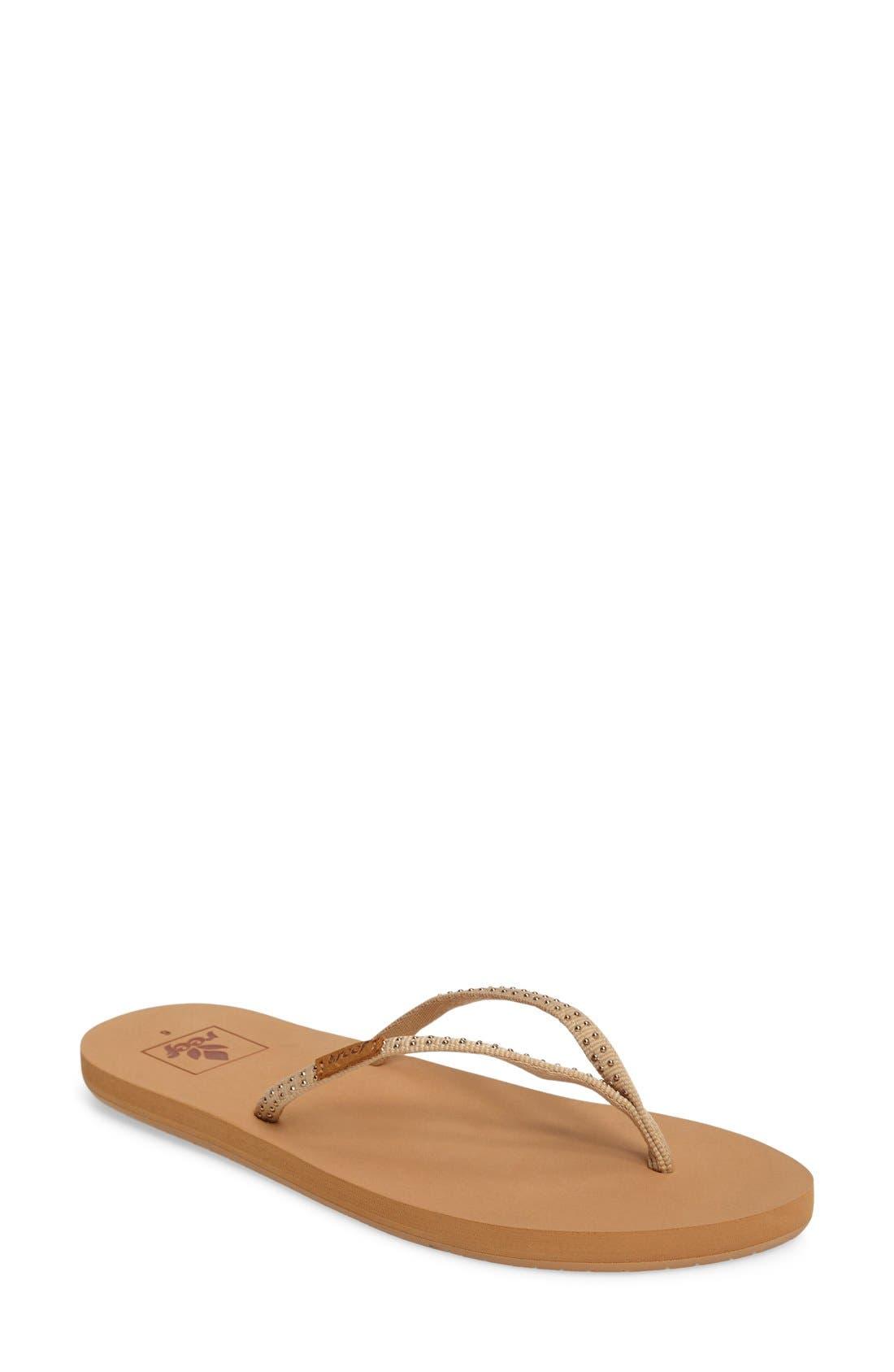 'Slim Ginger' Studded Flip Flop,                         Main,                         color, Tan