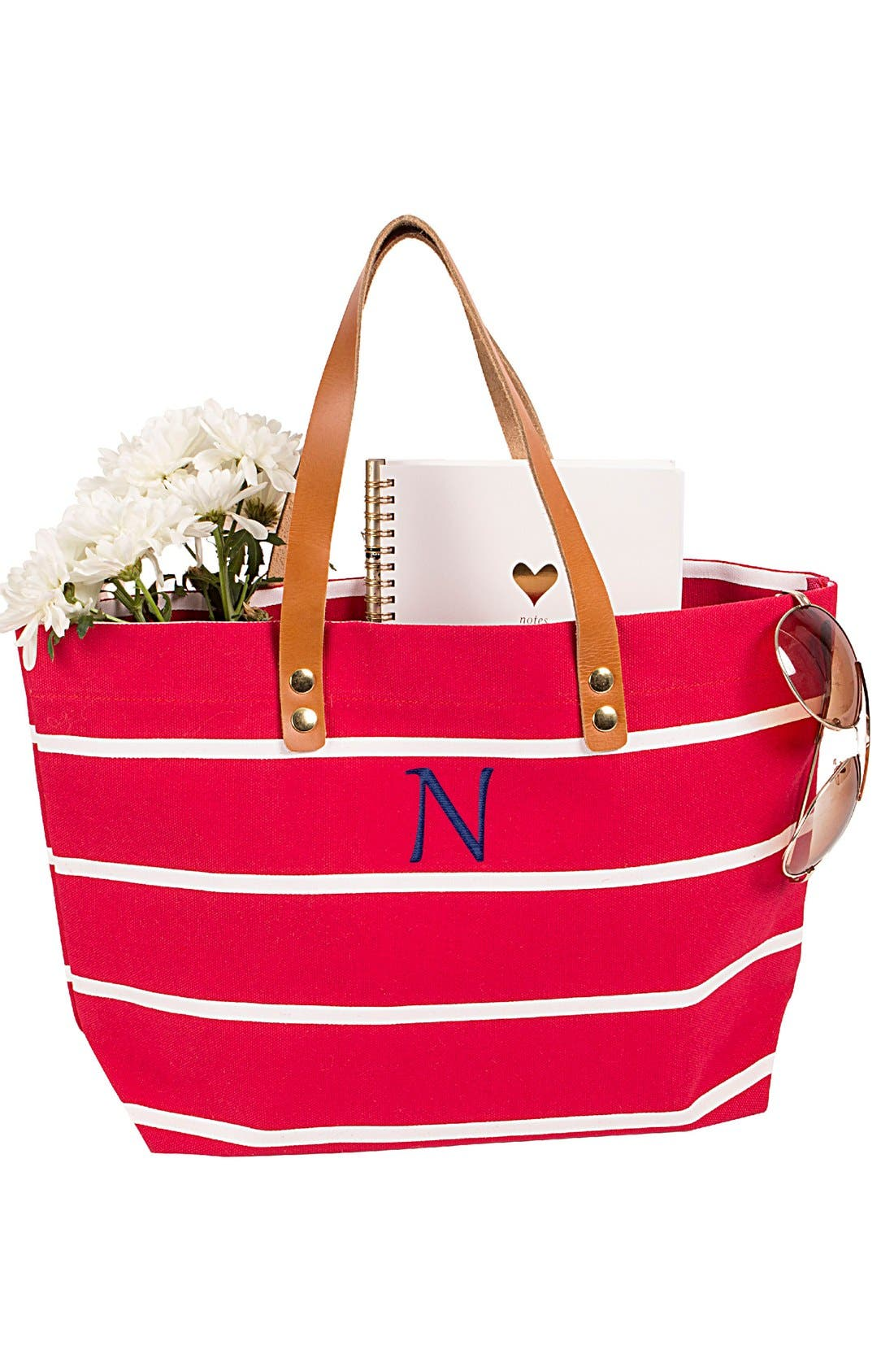 Alternate Image 4  - Cathy's Concepts Monogram Stripe Tote