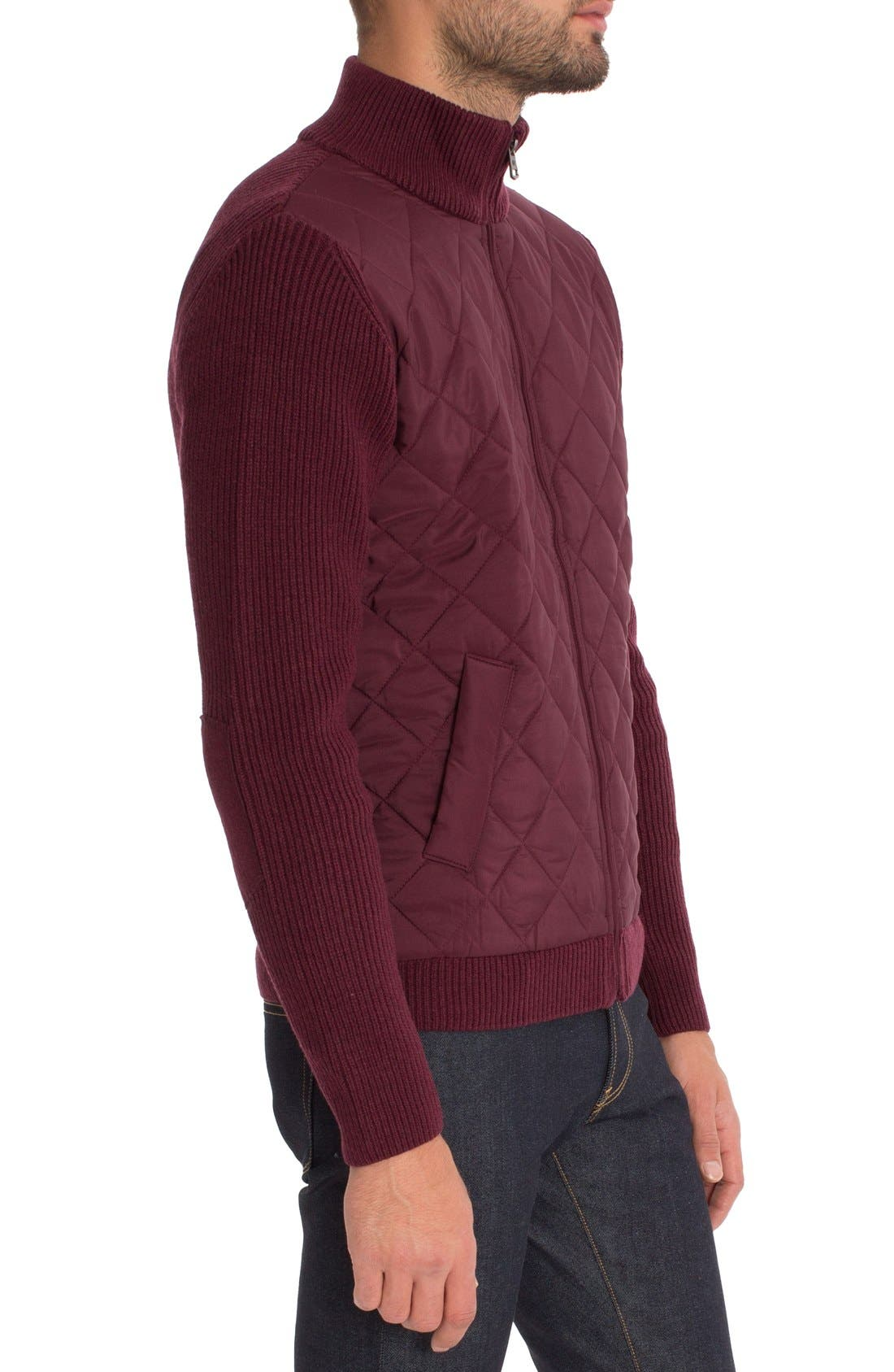 'Gatti' Quilted Panel Lambswool Knit Jacket,                             Alternate thumbnail 3, color,                             Maroon