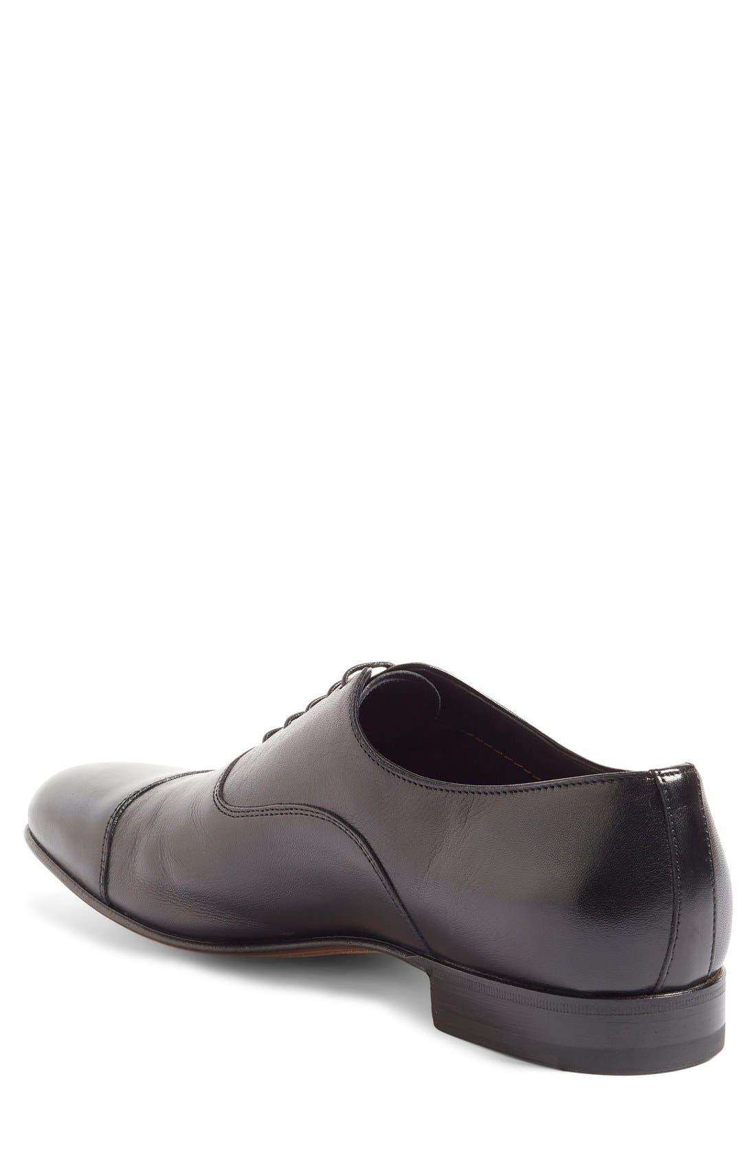 'Darian' Cap Toe Oxford,                             Alternate thumbnail 2, color,                             Black Leather