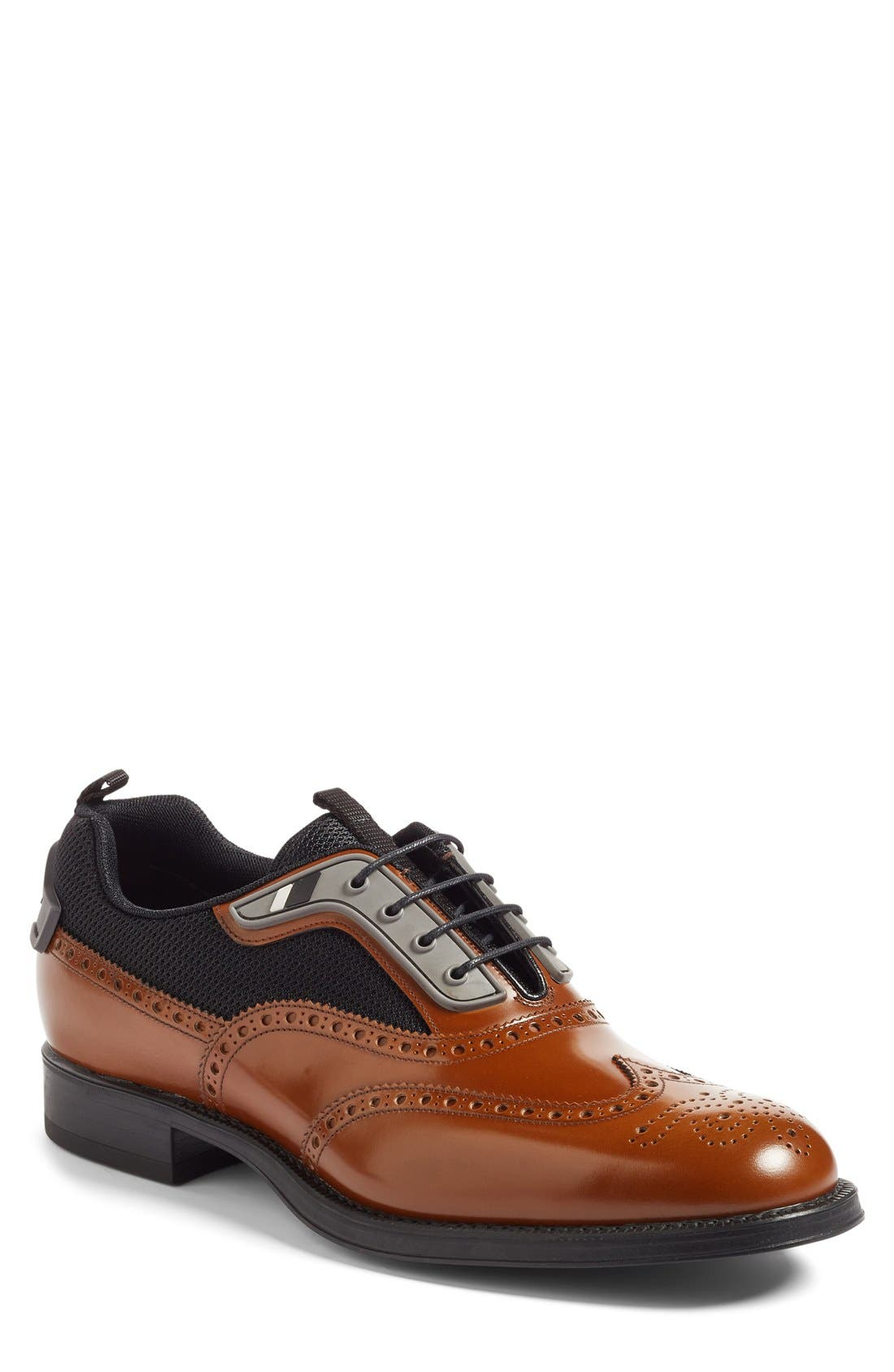 Wingtip,                             Main thumbnail 1, color,                             Tobacco/ Nero Leather