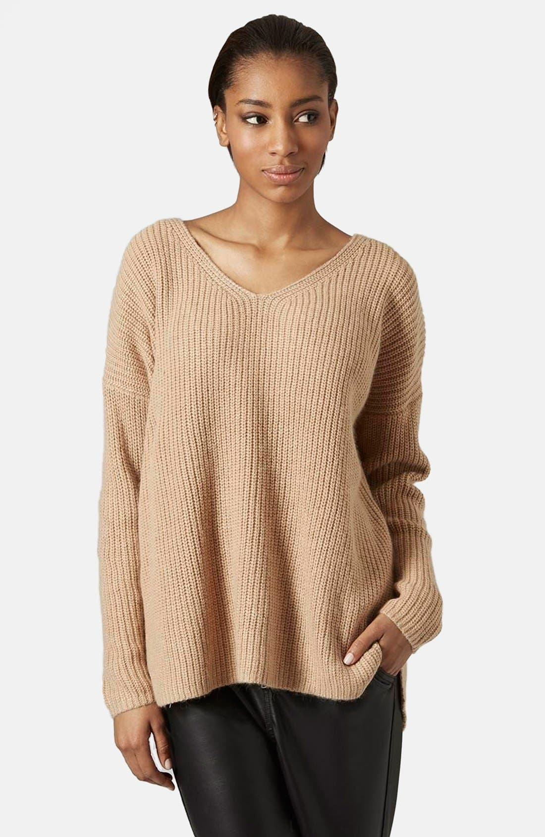 Main Image - Topshop Double V-Neck Rib Sweater