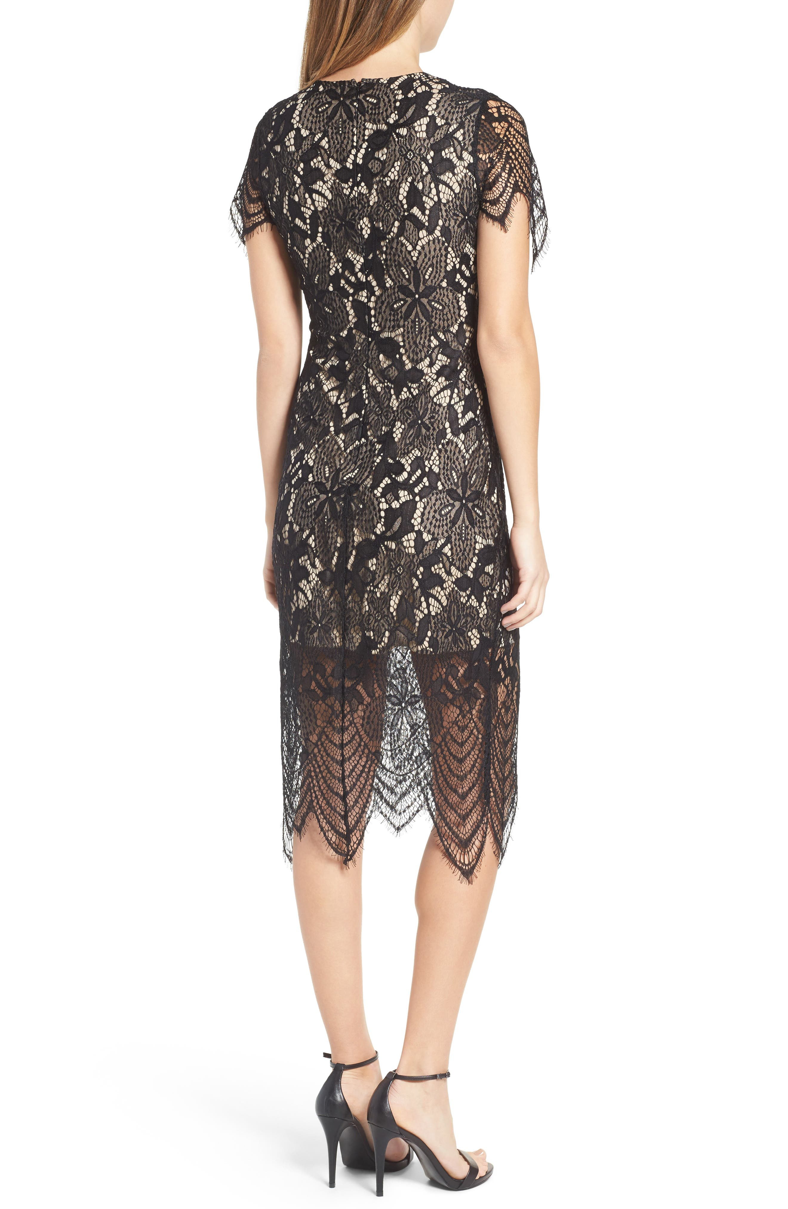 Scallop Lace Dress,                             Alternate thumbnail 2, color,                             Black