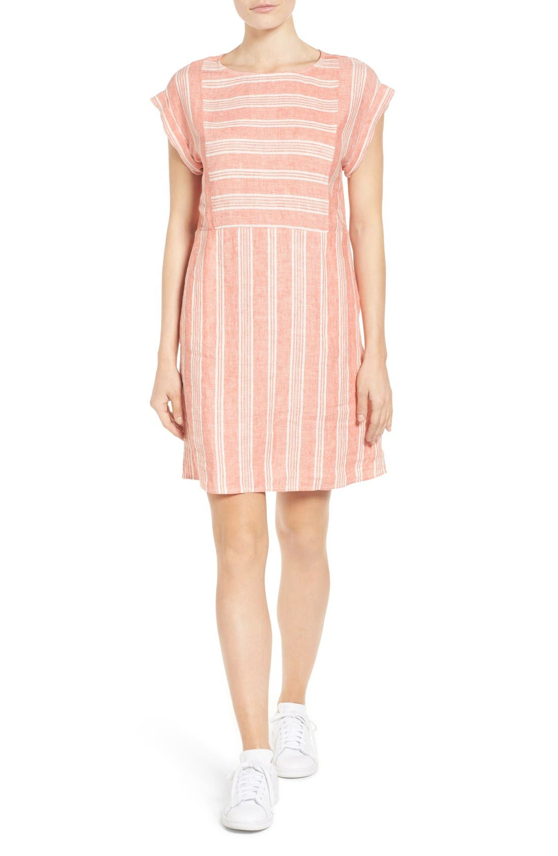 Caslon® Stripe Linen Shift Dress (Regular & Petite)