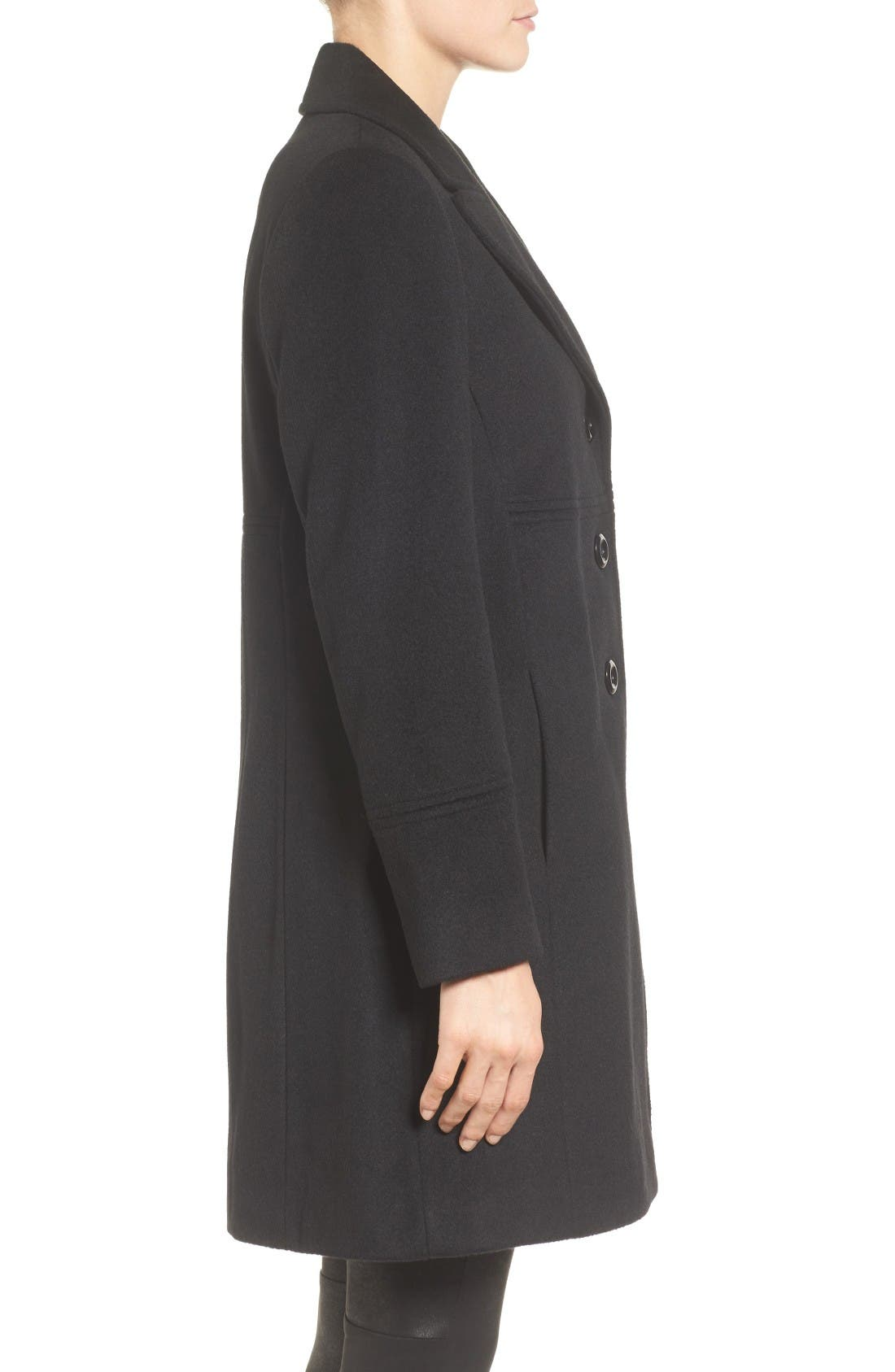 Notch Collar Wool Blend Coat,                             Alternate thumbnail 3, color,                             Black