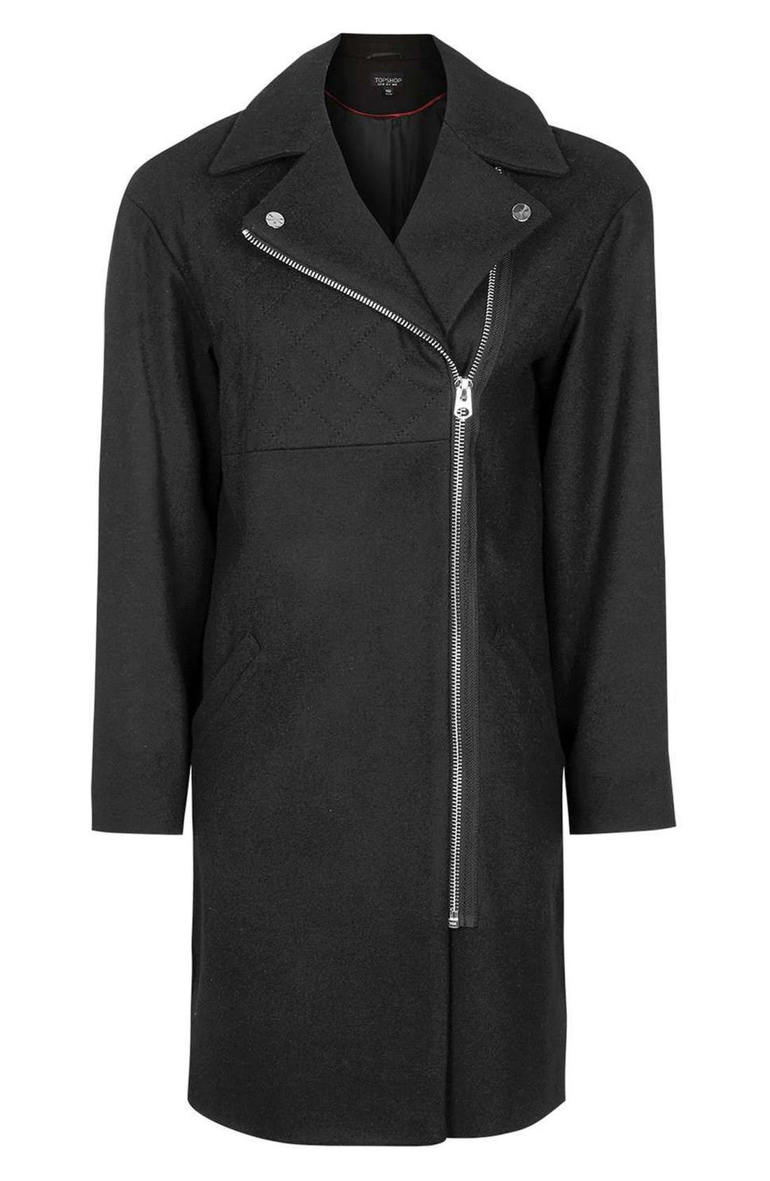 Alternate Image 4  - Topshop Asymmetrical Biker Coat
