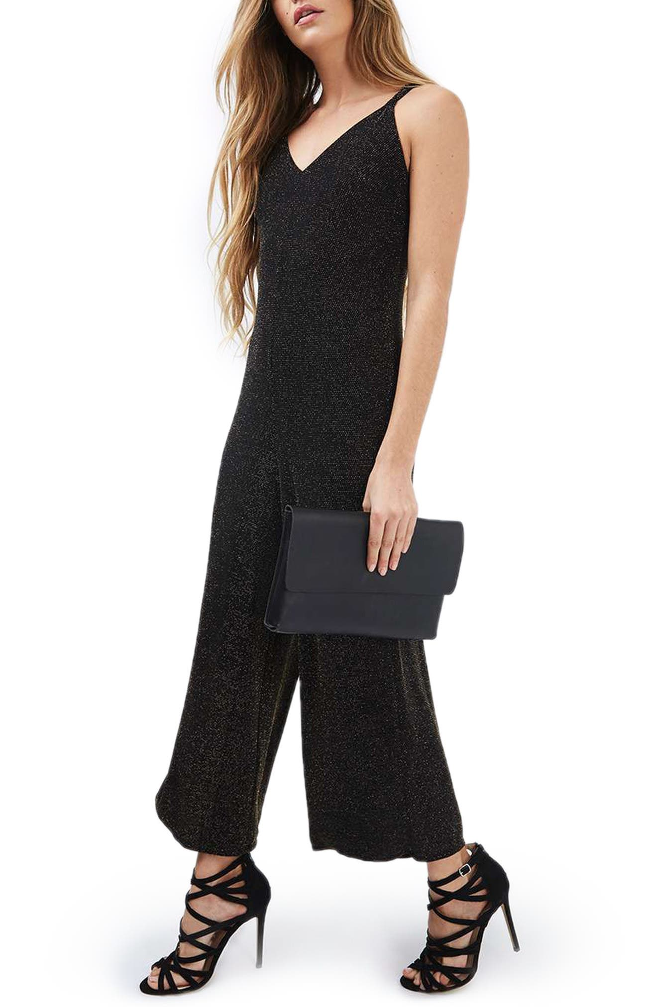 Alternate Image 1 Selected - Topshop Glitter Jumpsuit