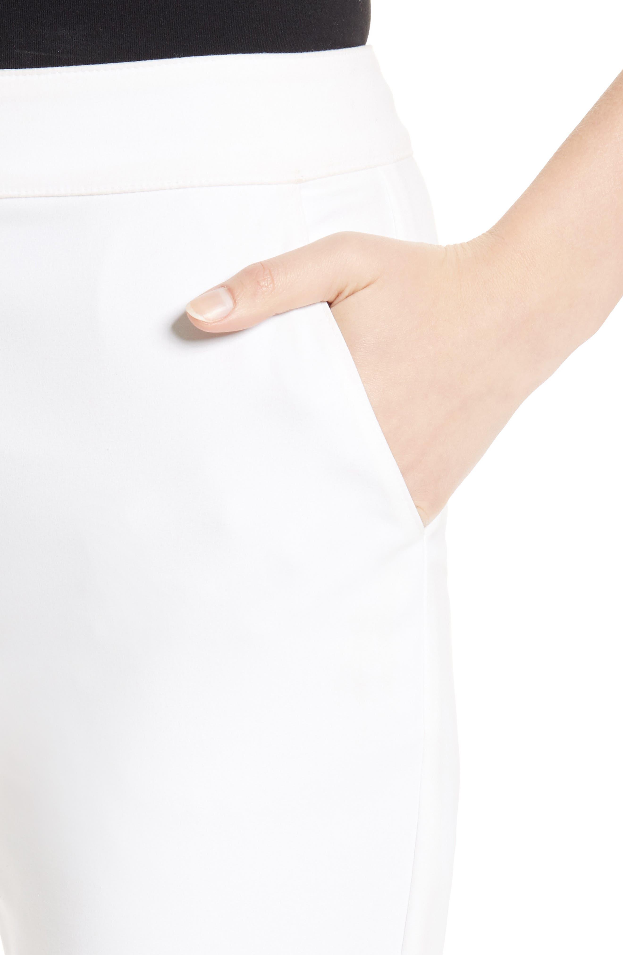 Emma Stretch Micro Ottoman Crop Pants,                             Alternate thumbnail 6, color,                             Bianco