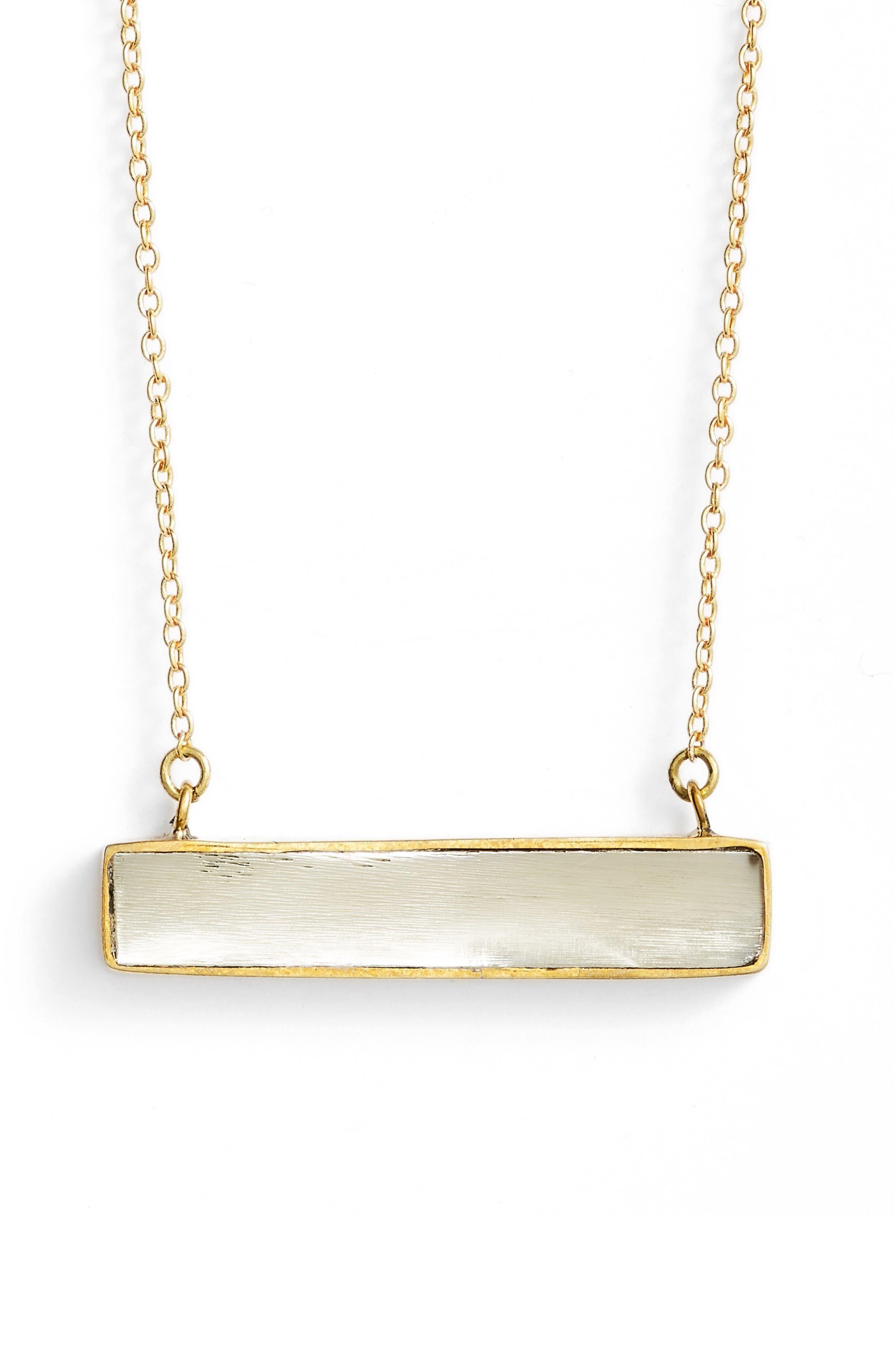 Horizontal Horn Bar Pendant Necklace,                         Main,                         color, Natural