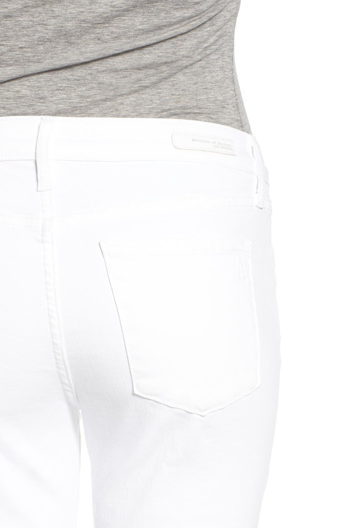 Alternate Image 4  - Articles of Society Carly Skinny Crop Jeans (Whiteout)
