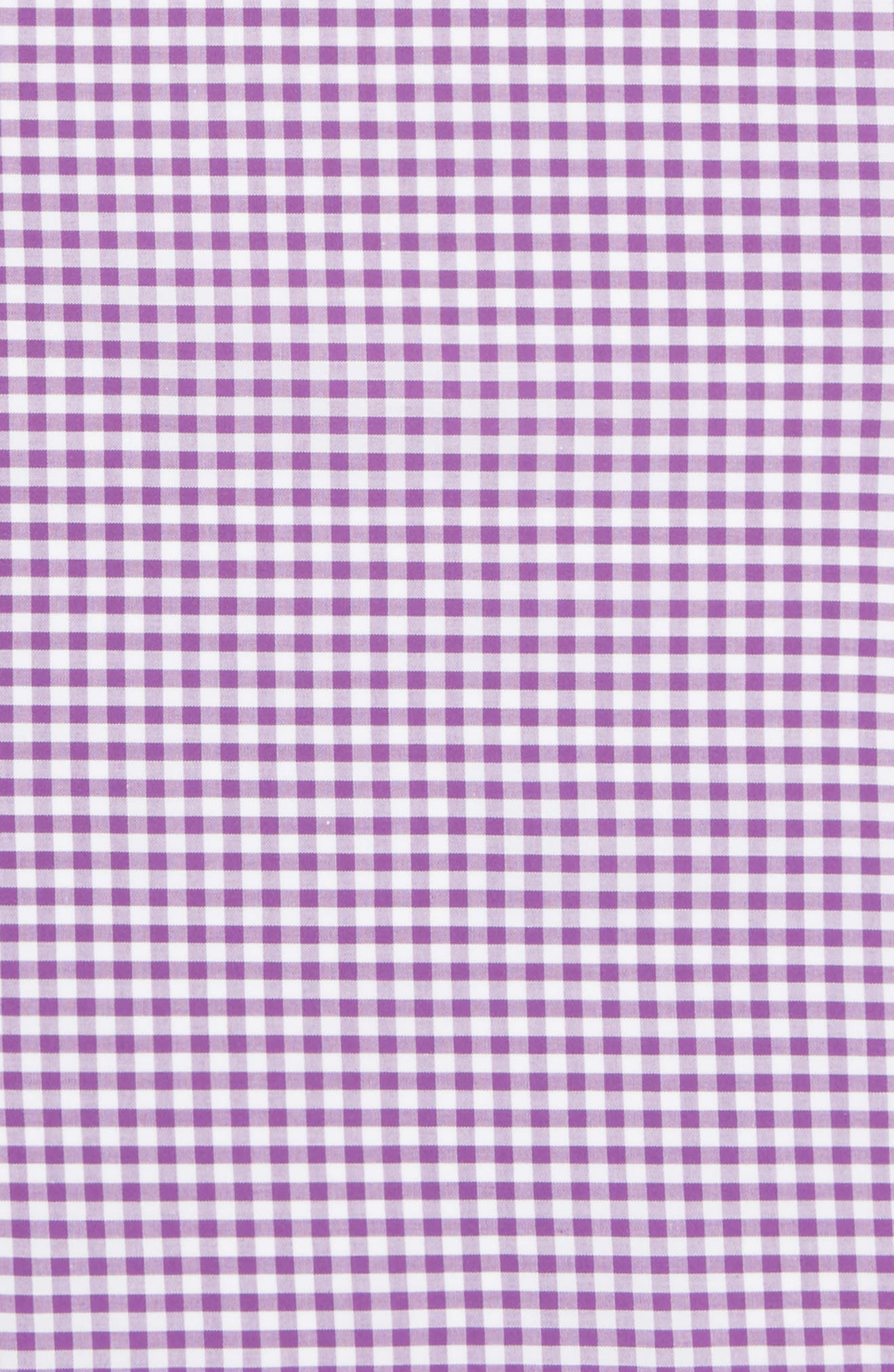 Novel Check Cotton Pocket Square,                             Alternate thumbnail 3, color,                             Plum