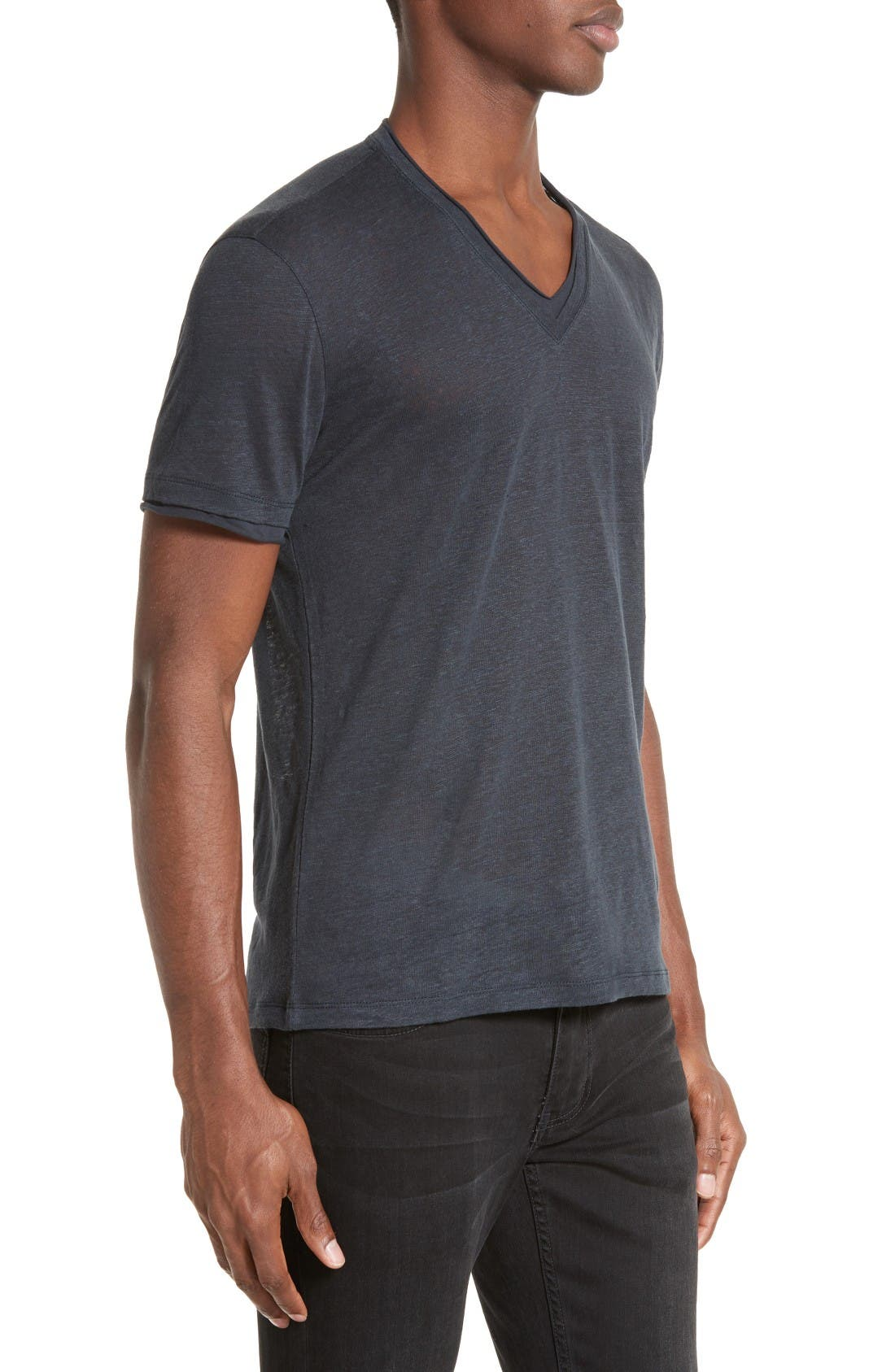 Alternate Image 3  - John Varvatos Collection V-Neck Linen T-Shirt