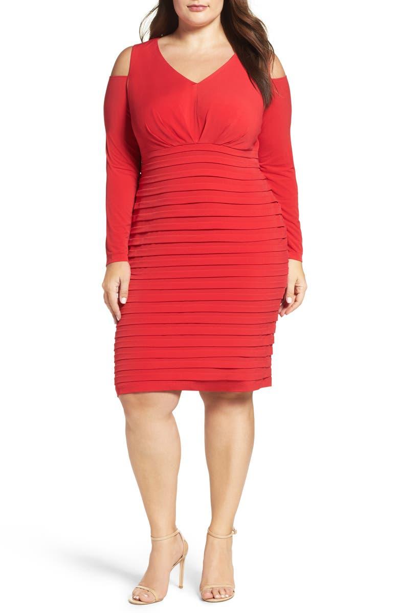 Cold Shoulder Shutter Pleat Jersey Sheath Dress