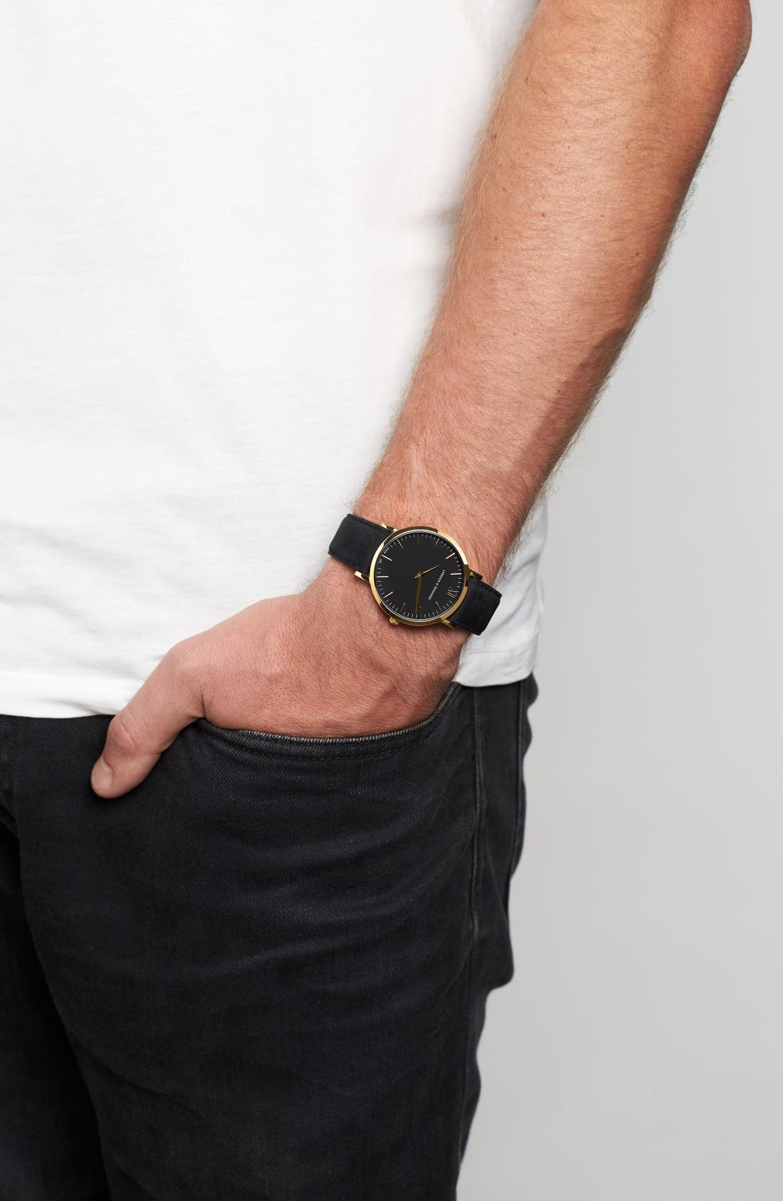 'Lugano' Leather Strap Watch, 40mm,                             Alternate thumbnail 7, color,                             Black/ Gold