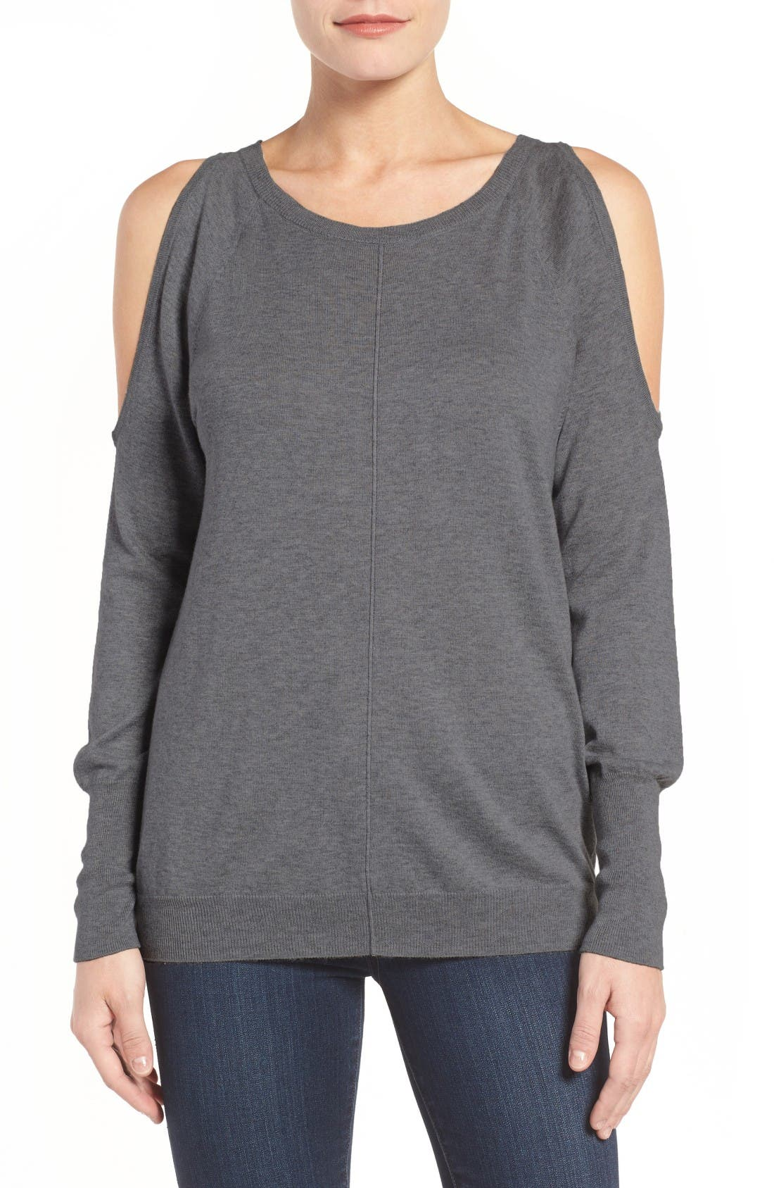 Cold Shoulder Sweater,                             Main thumbnail 1, color,                             Medium Heather Grey
