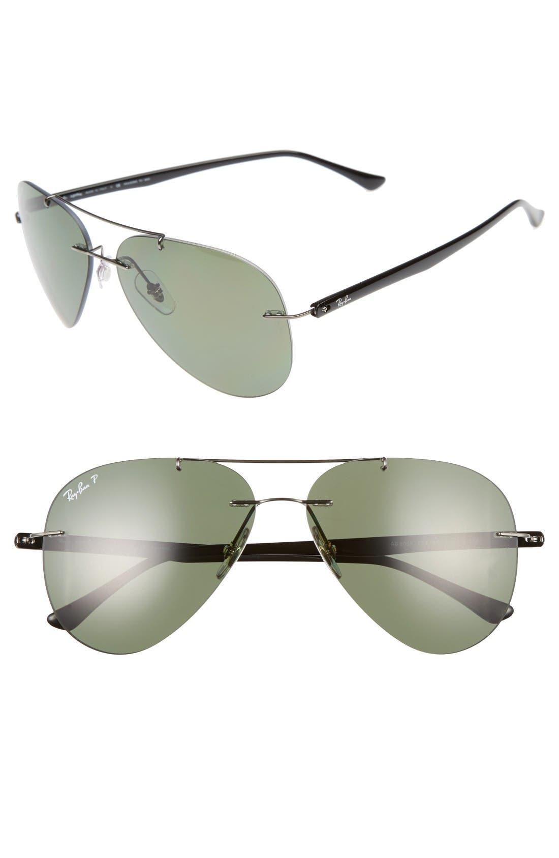 59mm Polarized Aviator Sunglasses,                         Main,                         color, Gunmetal/ Green