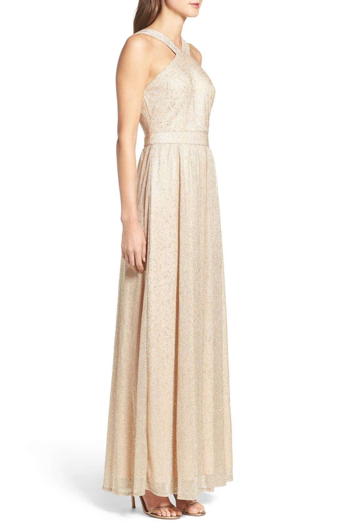High Neck Shimmer Gown,                             Alternate thumbnail 3, color,                             Gold