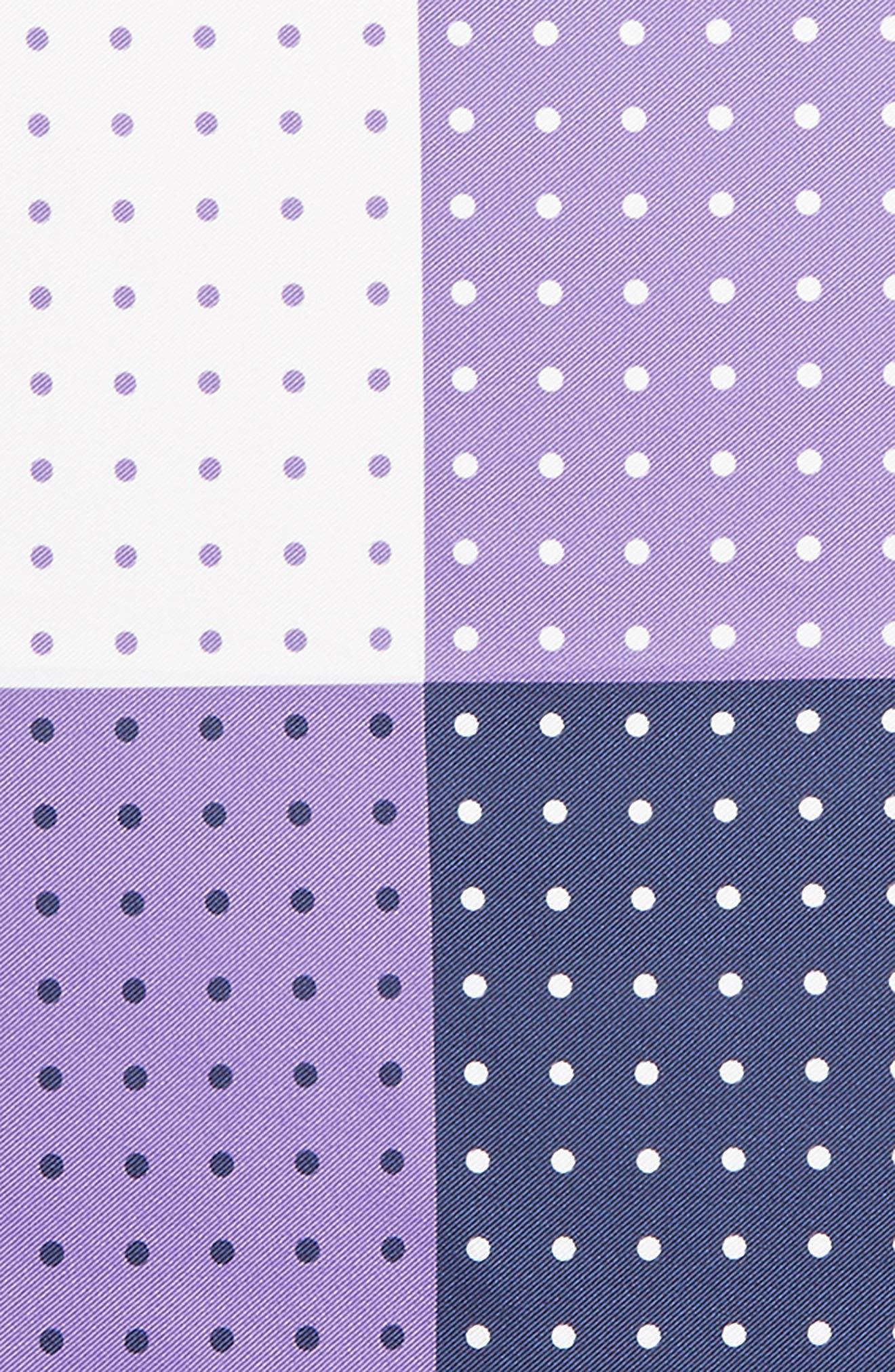 Four Panel Dot Silk Pocket Square,                             Alternate thumbnail 3, color,                             Purple