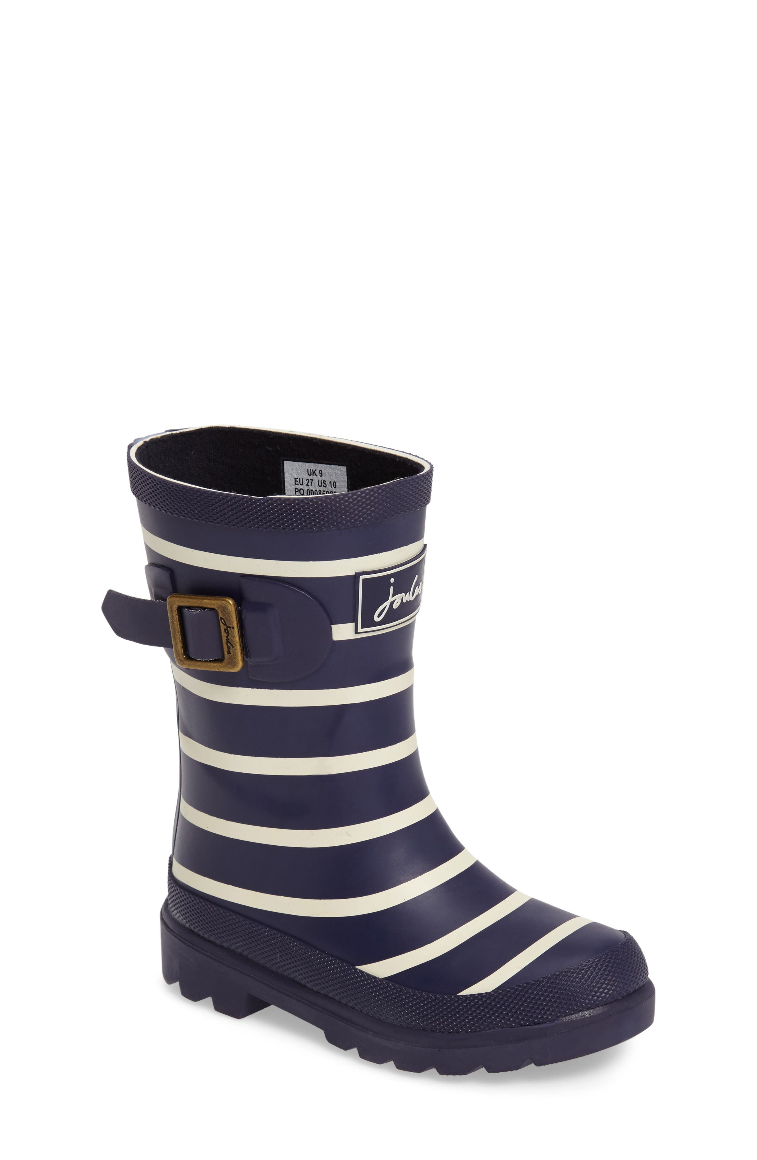 Stripe Welly Rain Boot,                             Main thumbnail 1, color,                             Navy Stripe