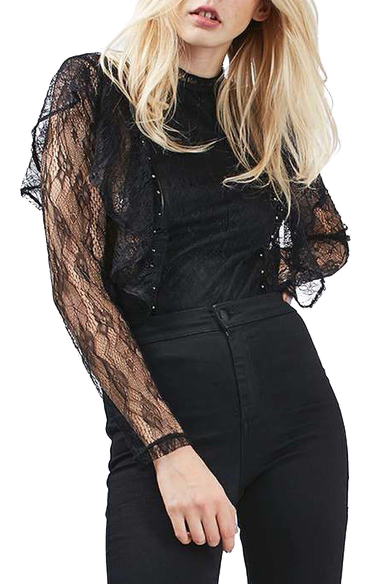 Ruffle Stud Lace Top,                         Main,                         color, Black