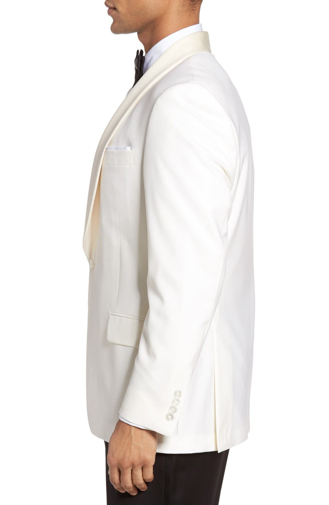 Classic B Fit Wool Dinner Jacket,                             Alternate thumbnail 3, color,                             Ivory