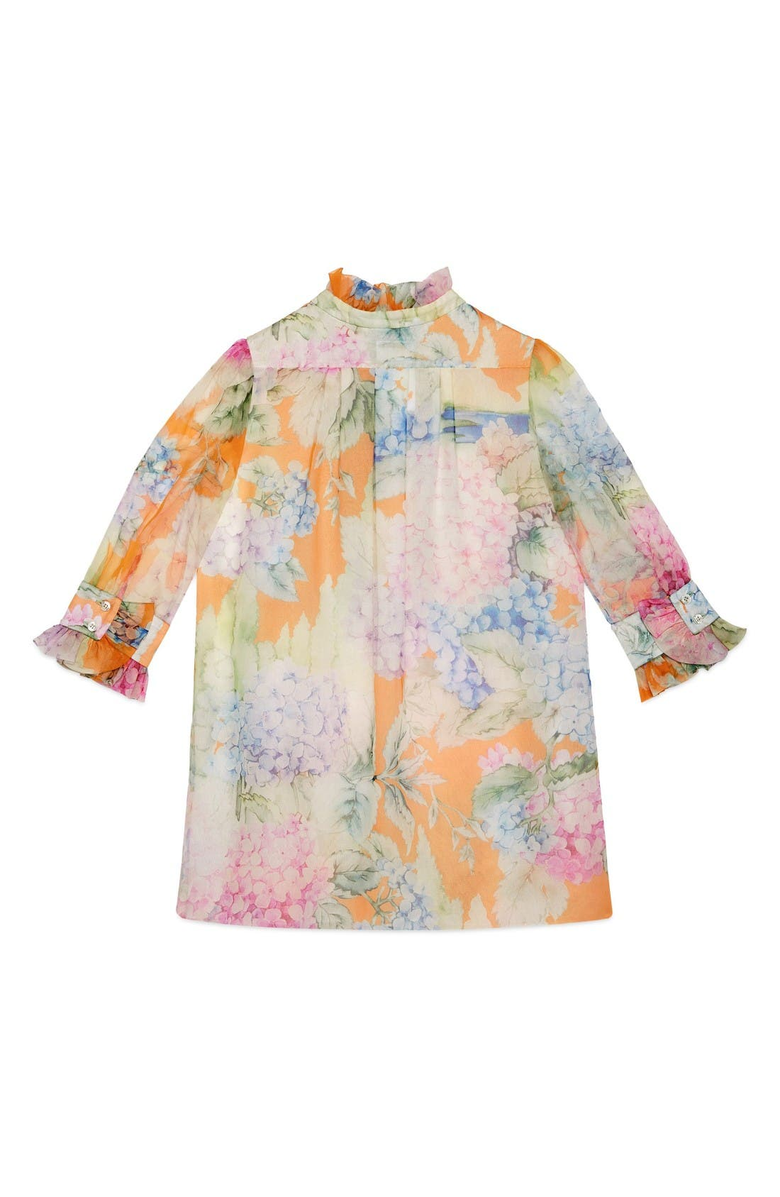 Alternate Image 2  - Gucci Flower Ruffle Silk Organza Dress (Little Girls & Big Girls)