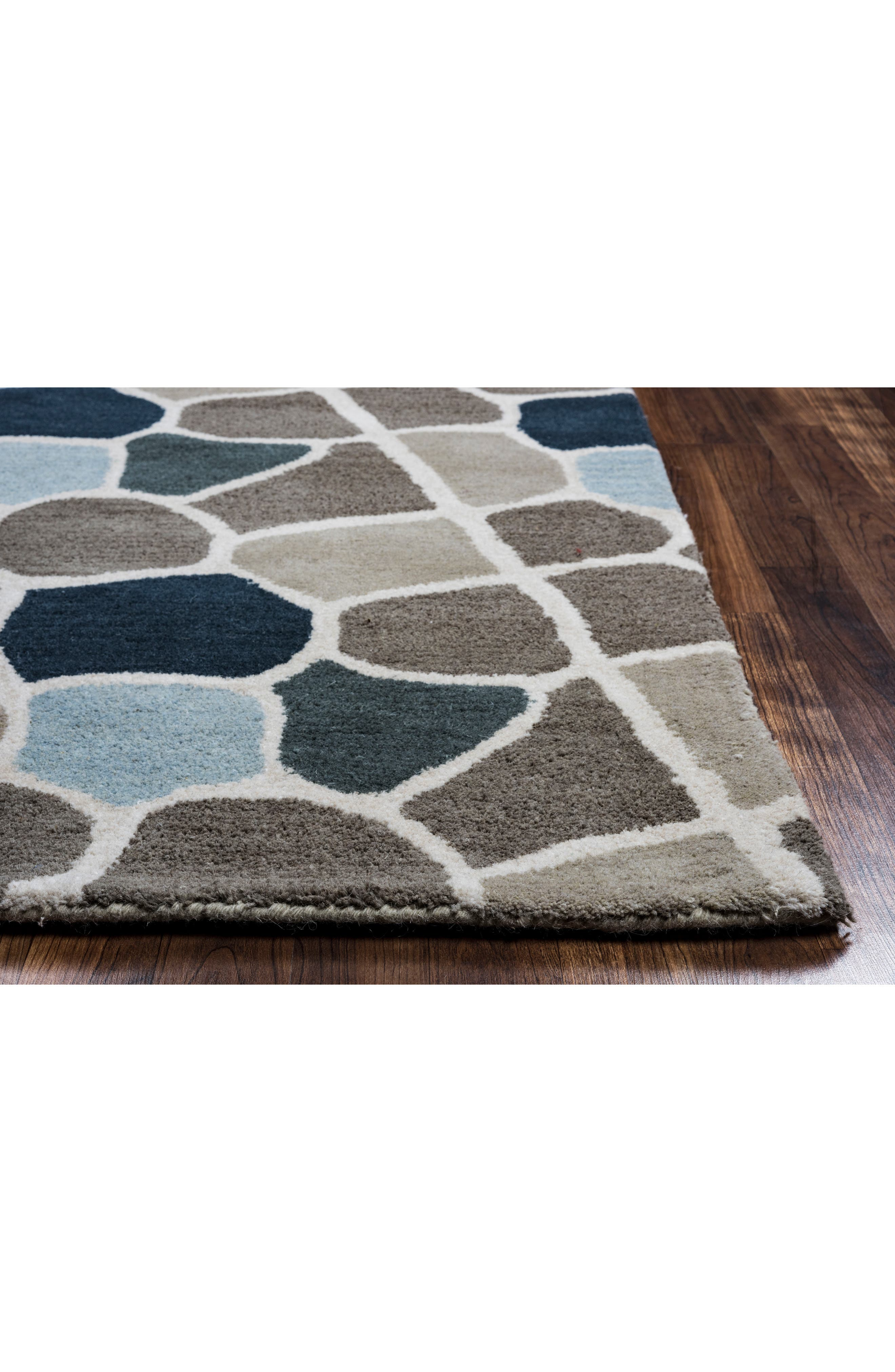 Cobble Geo Hand Tufted Wool Area Rug,                             Alternate thumbnail 2, color,                             Grey/ Blue