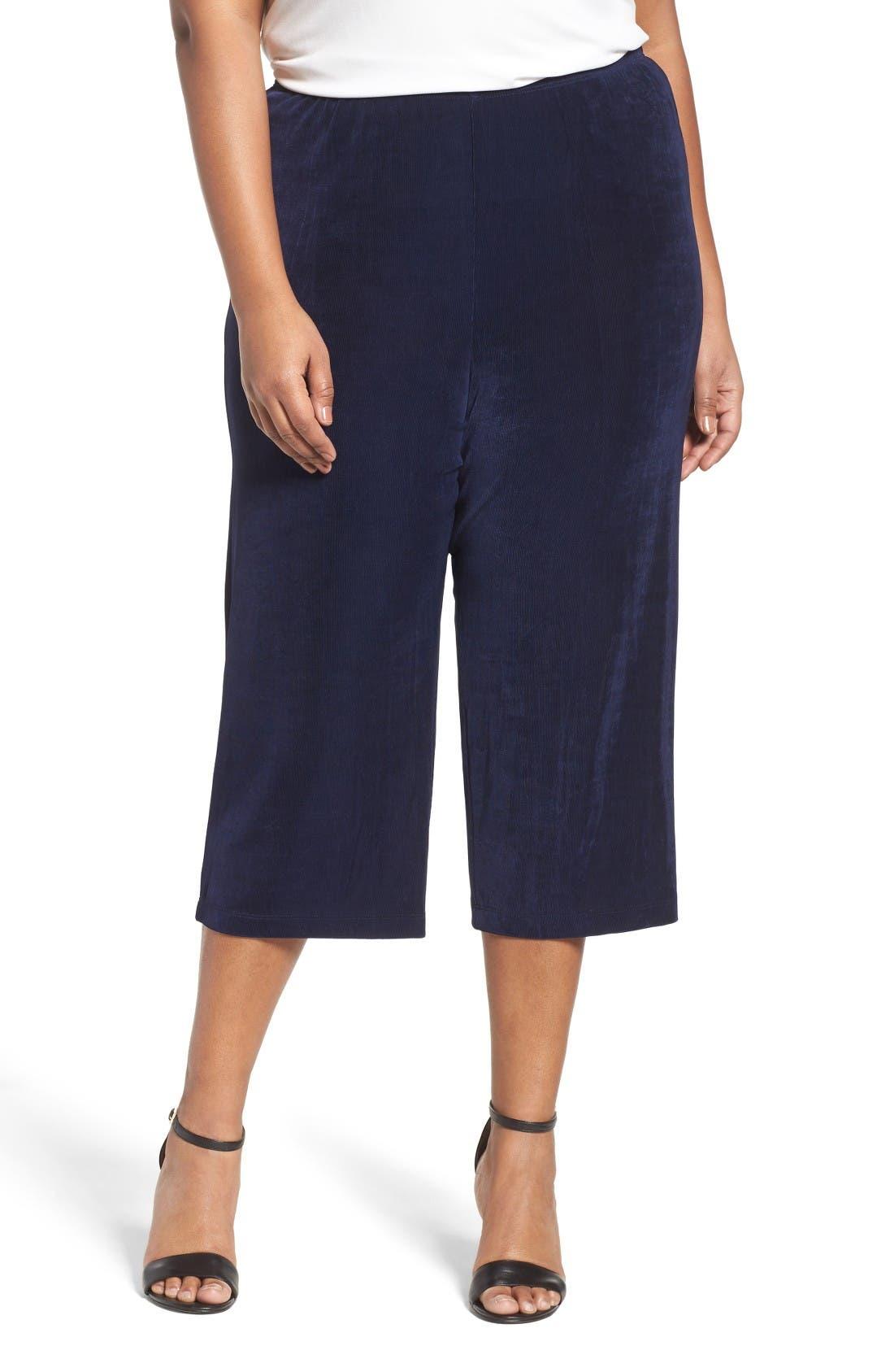 Alternate Image 1 Selected - Vikki Vi Stretch Knit Crop Pants (Plus Size)
