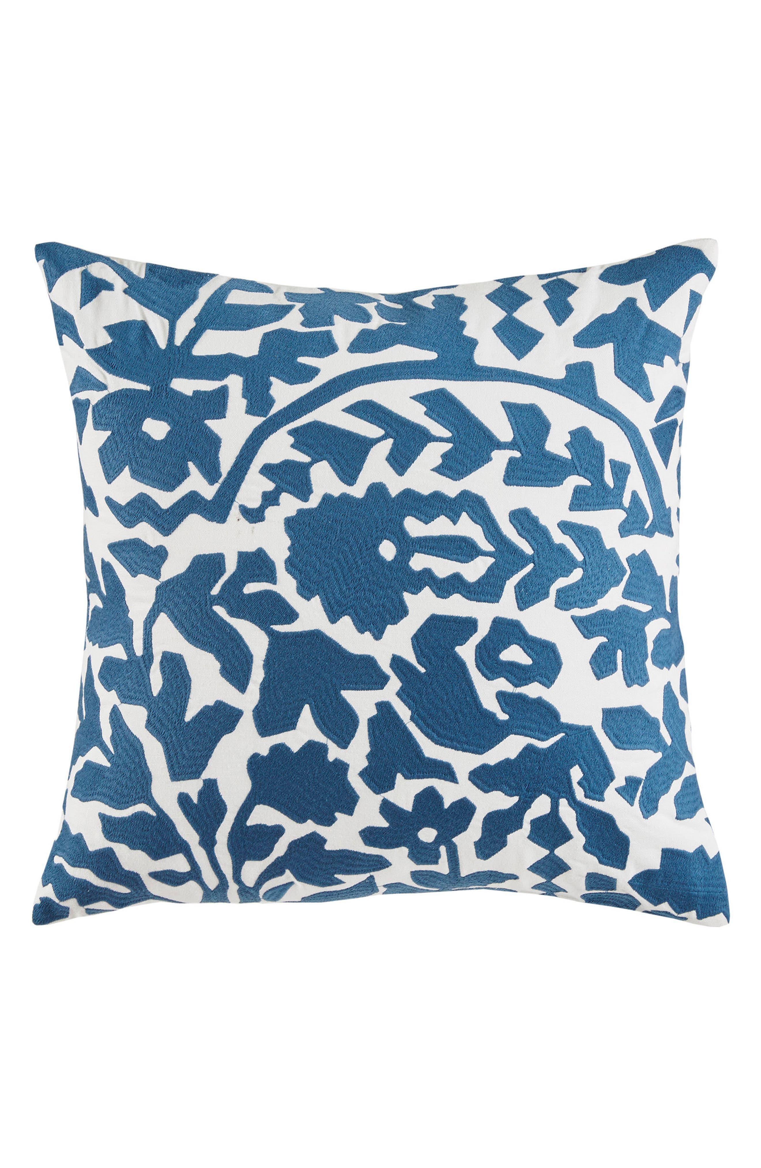 Oaxaca Floral Accent Pillow,                             Main thumbnail 1, color,                             Dark Blue