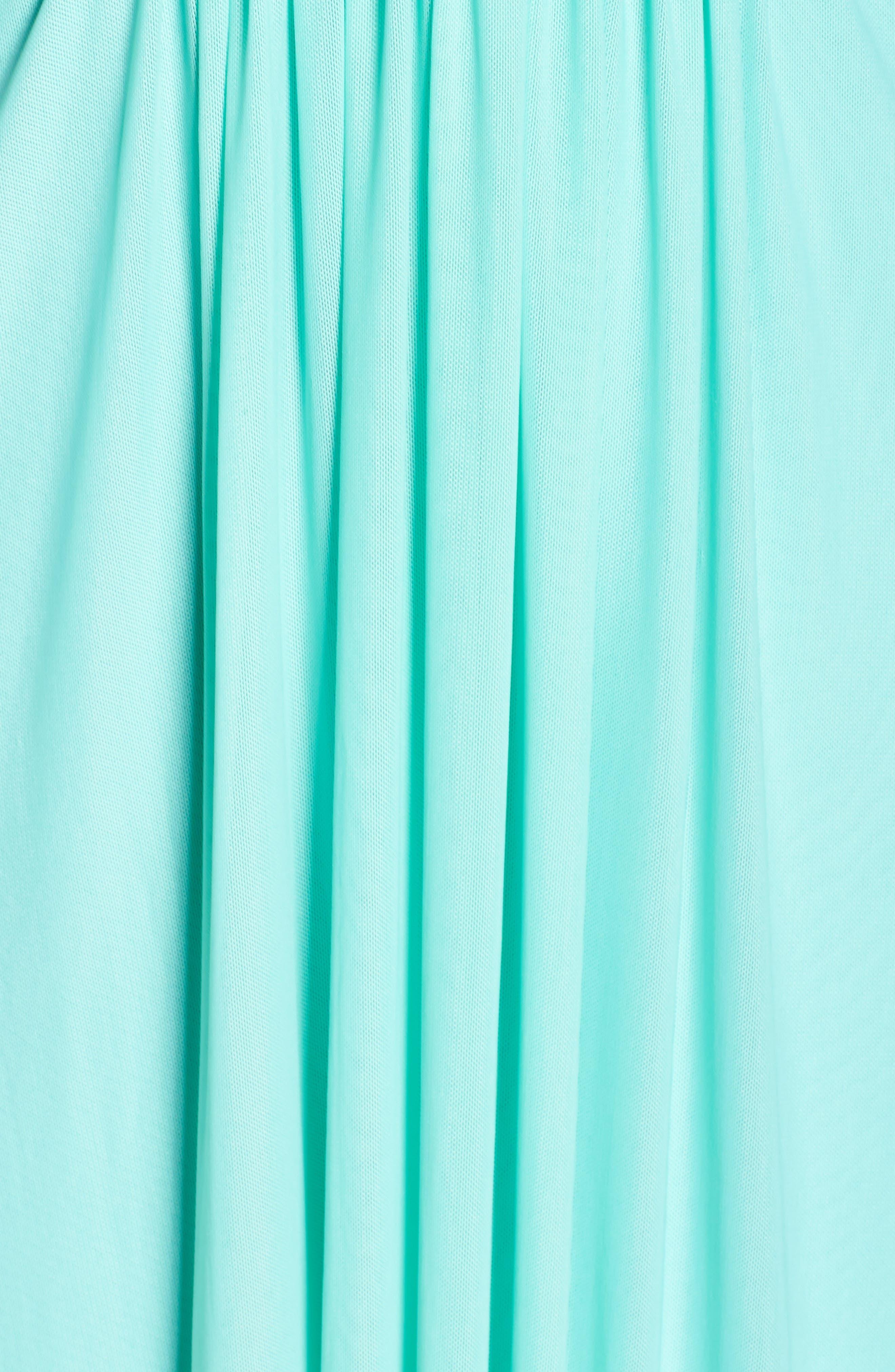 Alternate Image 5  - Marina Beaded V-Neck Pleat Mesh Gown (Plus Size)