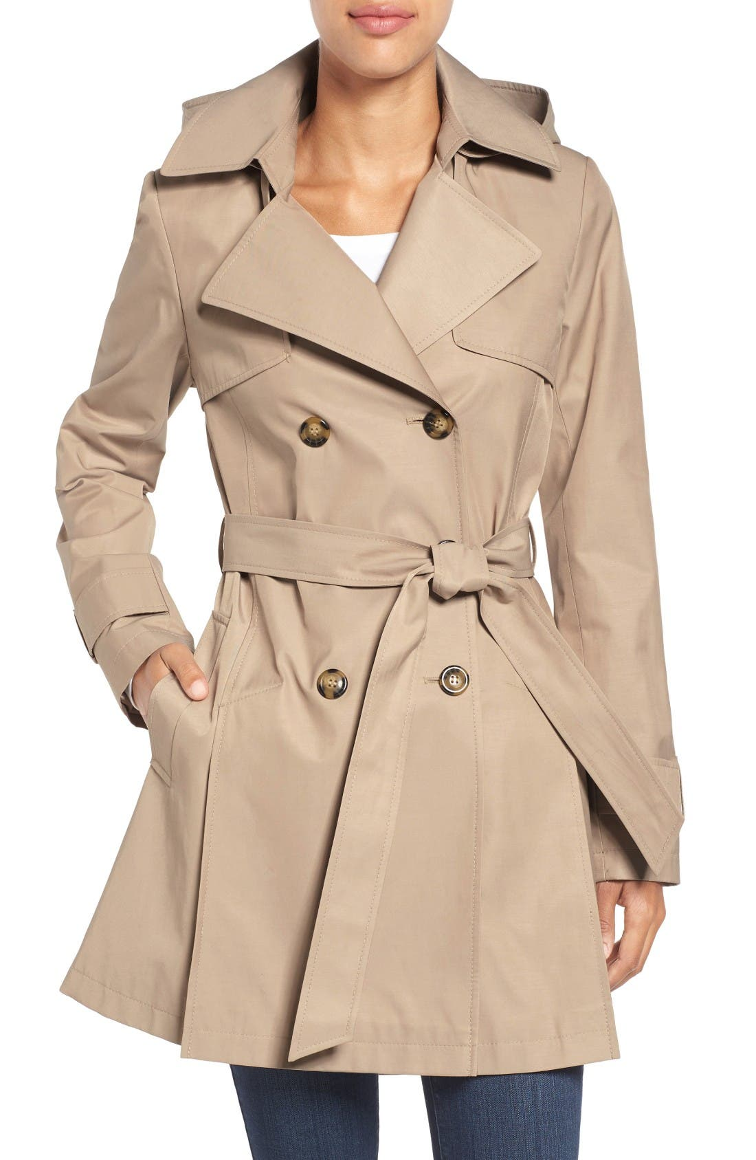 Alternate Image 1 Selected - Halogen® Detachable Hood Trench Coat (Regular & Petite)