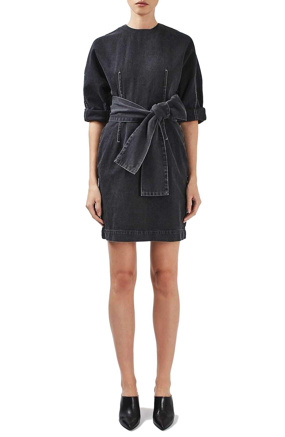 Alternate Image 3  - Topshop Boutique Dome Denim Dress