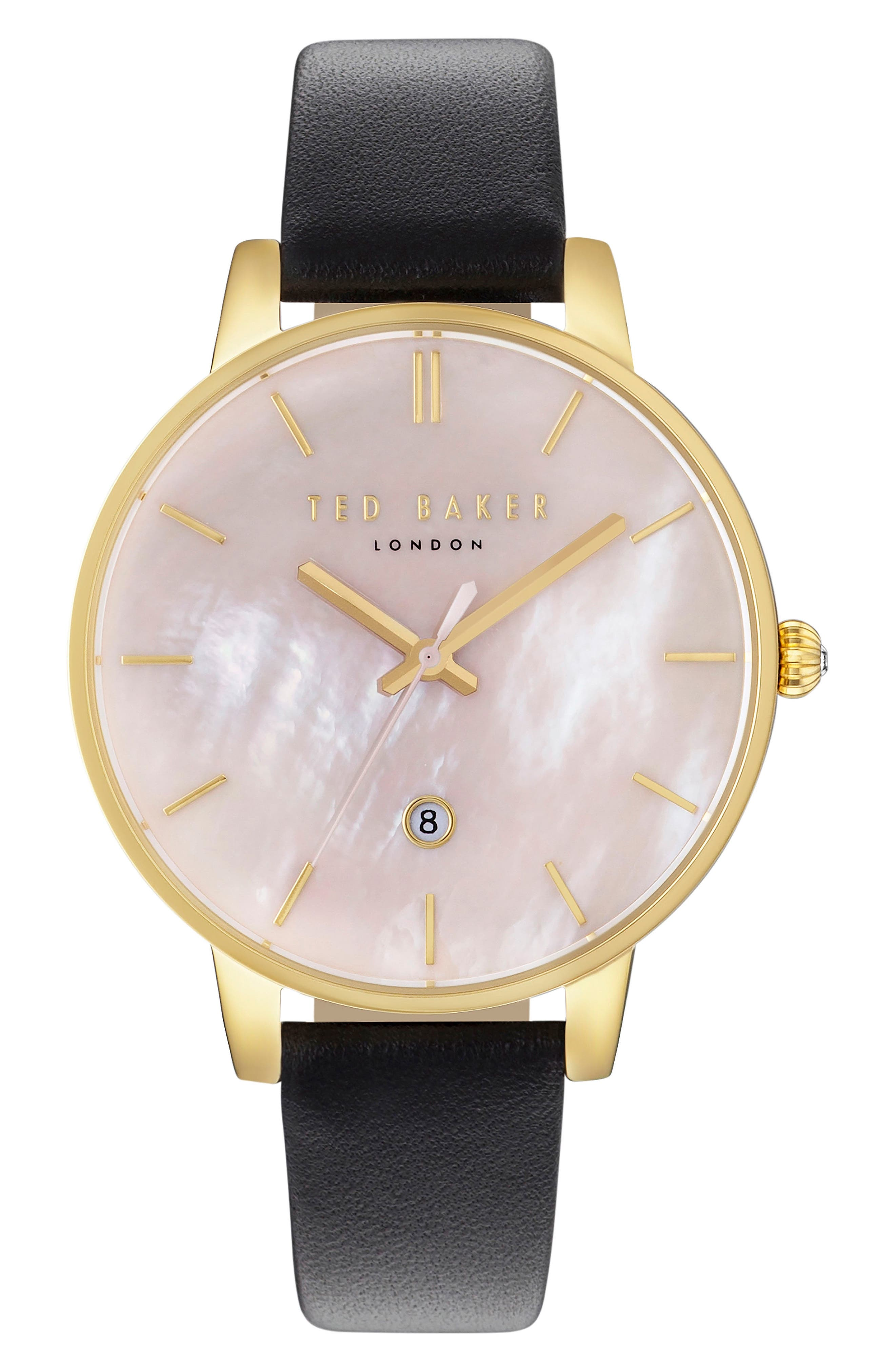 Kate Leather Strap Watch, 40mm,                         Main,                         color, Black/ Pink