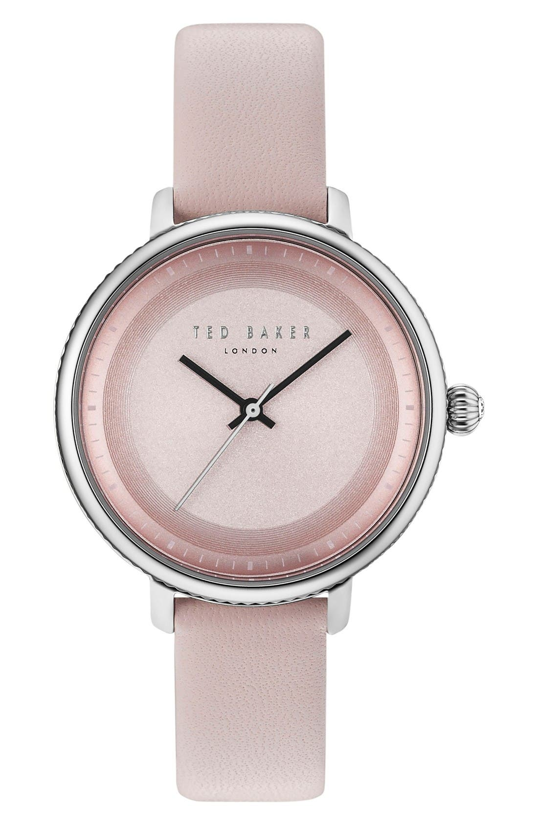 Isla Round Leather Strap Watch, 36mm,                         Main,                         color, Pink/ Silver