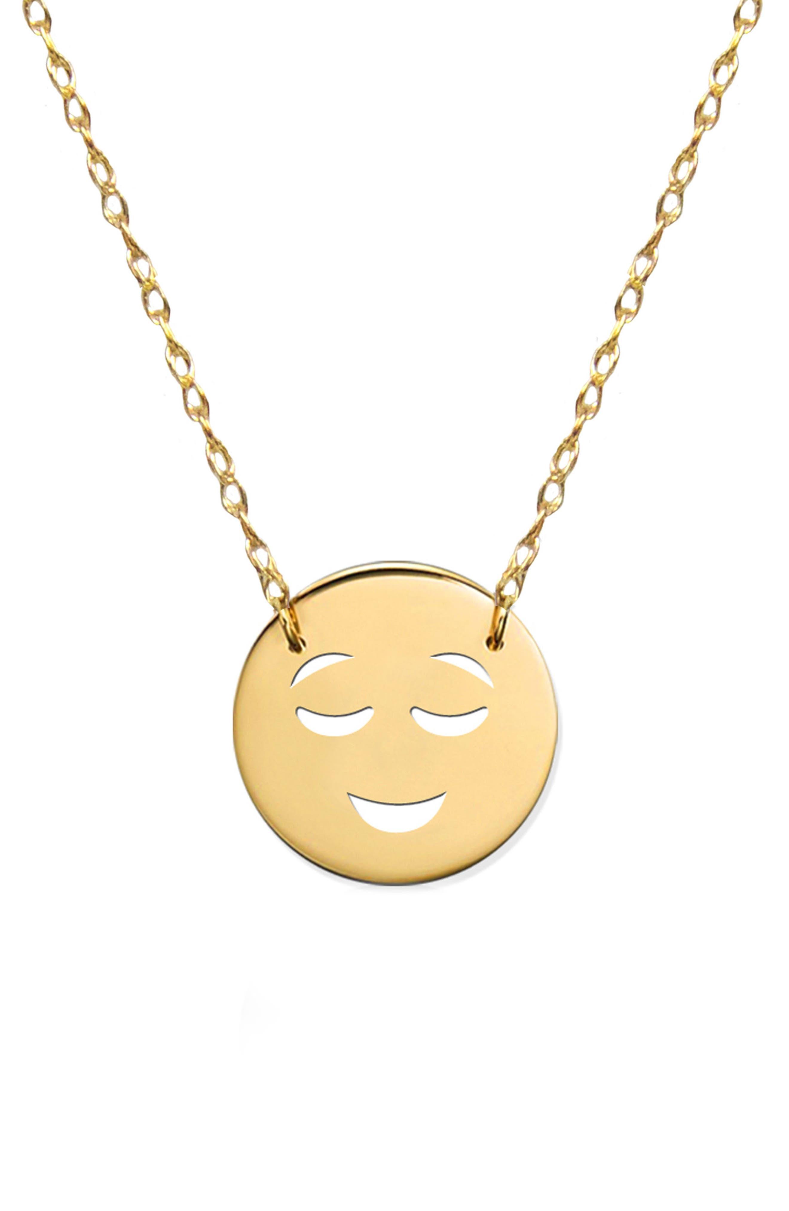 Happy Emoji Pendant Necklace,                         Main,                         color, Yellow Gold