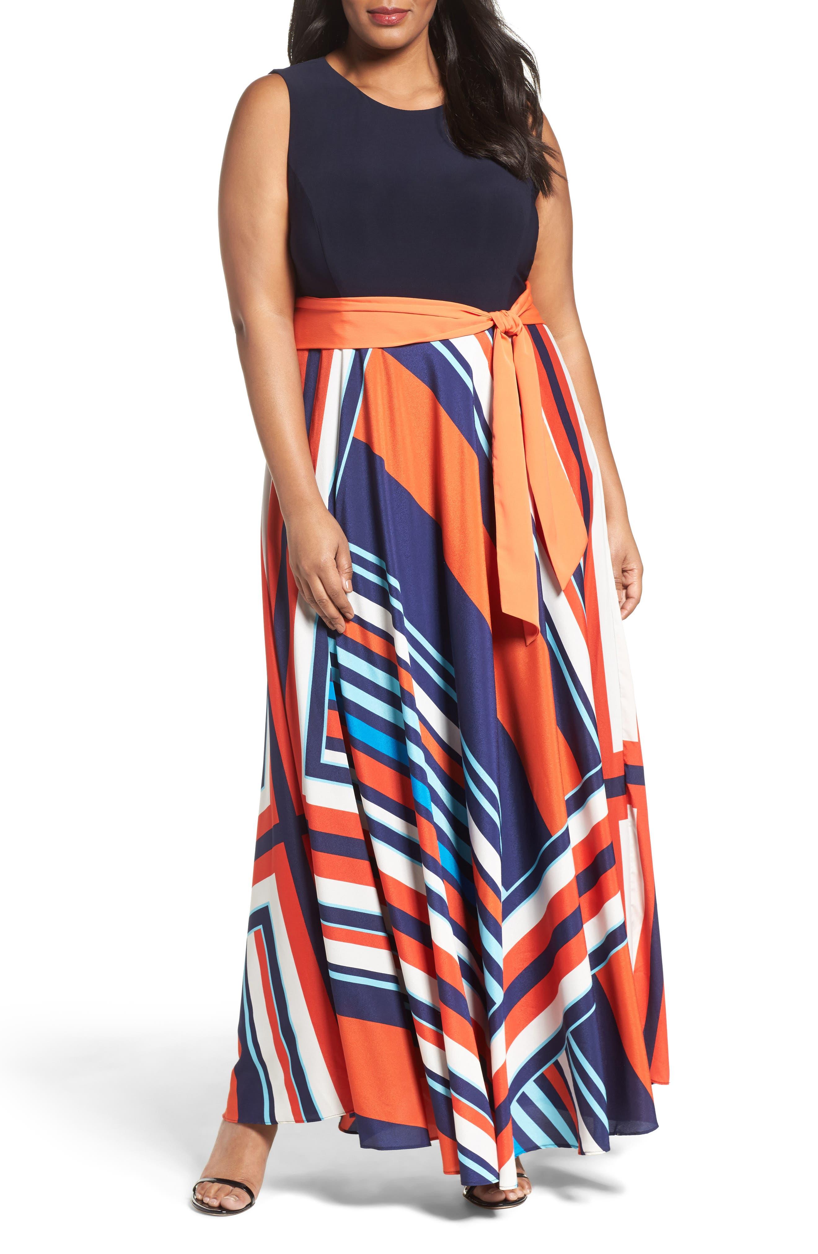 Eliza J Tile Print Jersey & Crepe Maxi Dress (Plus Size)
